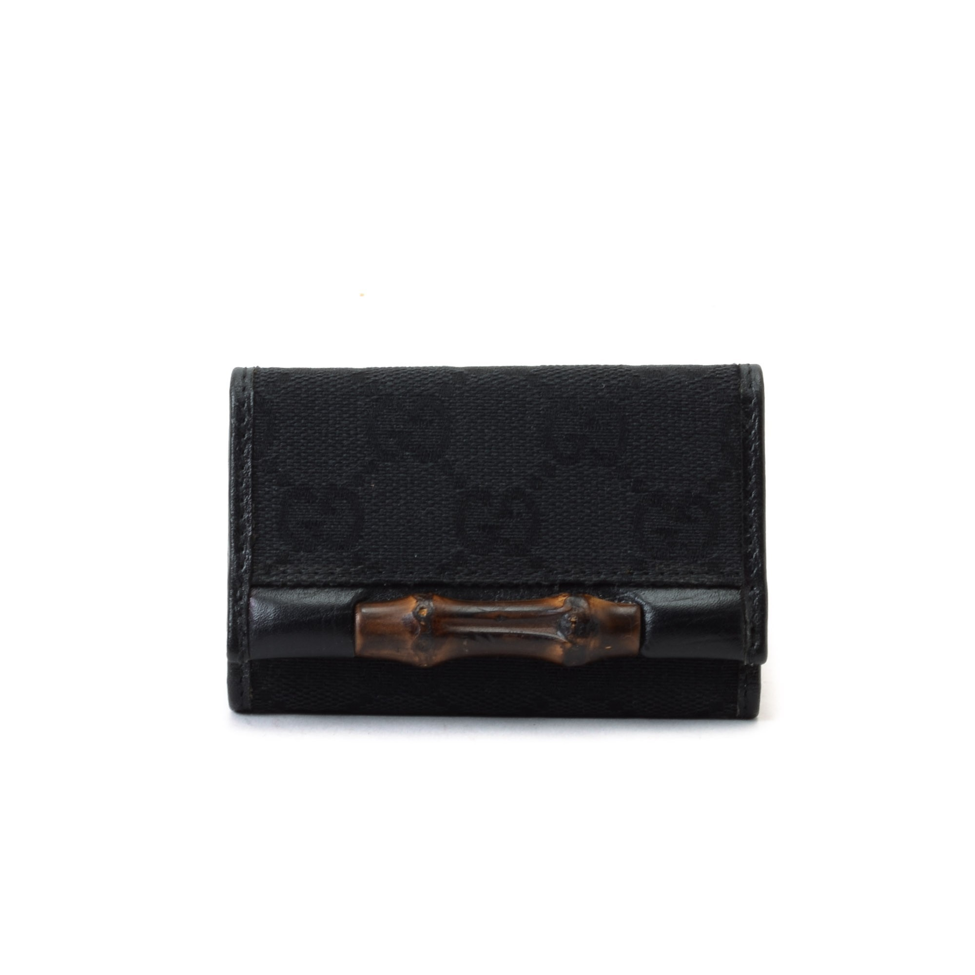Gucci Bamboo Key Case GG Black Canvas Other Small Leather Good ...