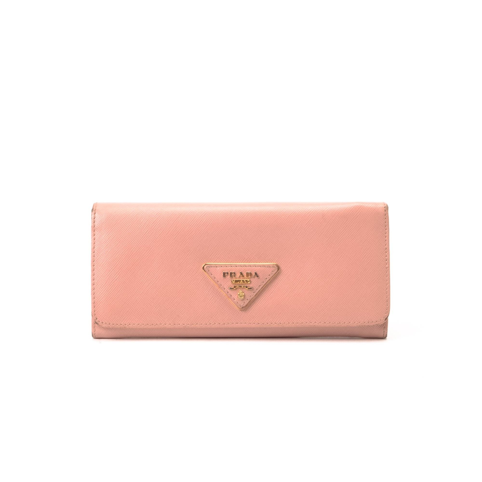 Prada Long Wallet Saffiano Pink Calf Wallet - LXR\u0026amp;CO Vintage Luxury