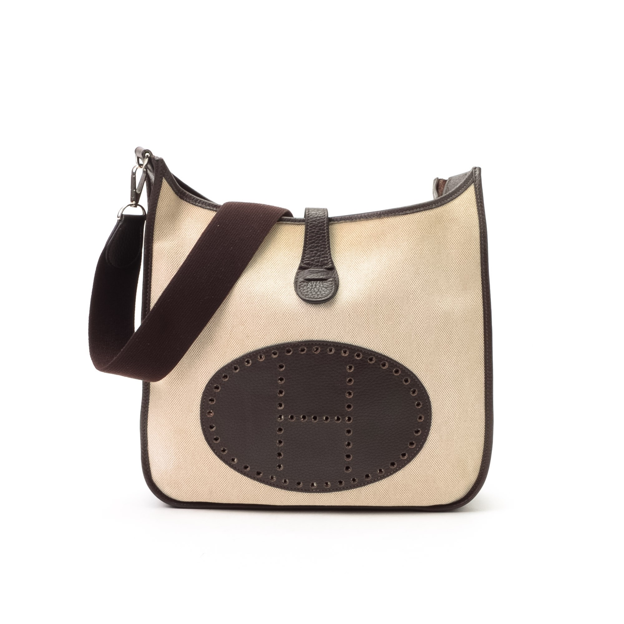 Herm¨¨s Hermes Evelyne Evelyne II PM Beige Canvas Shoulder Bag ...