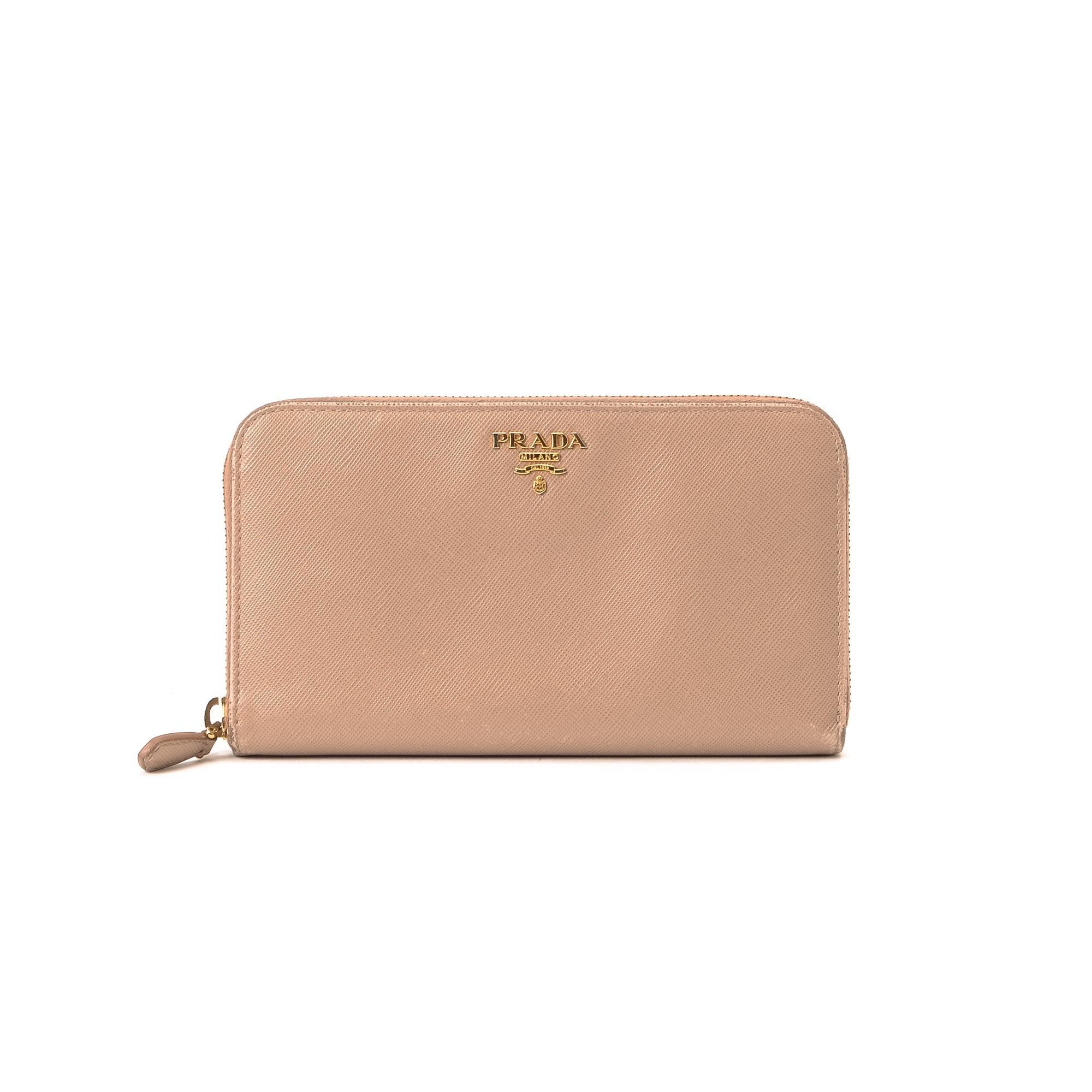 Prada Zip Long Wallet Saffiano Pink Beige Calf Wallet - LXR\u0026amp;CO ...