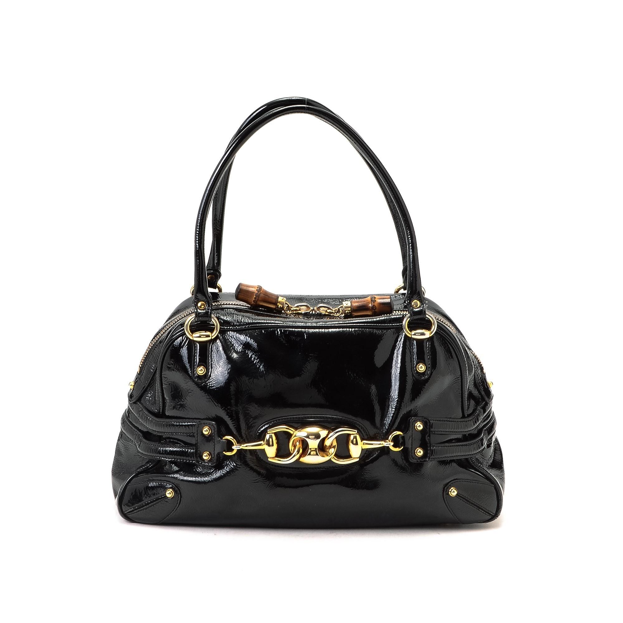Black Patent Leather Shoulder Bag 70