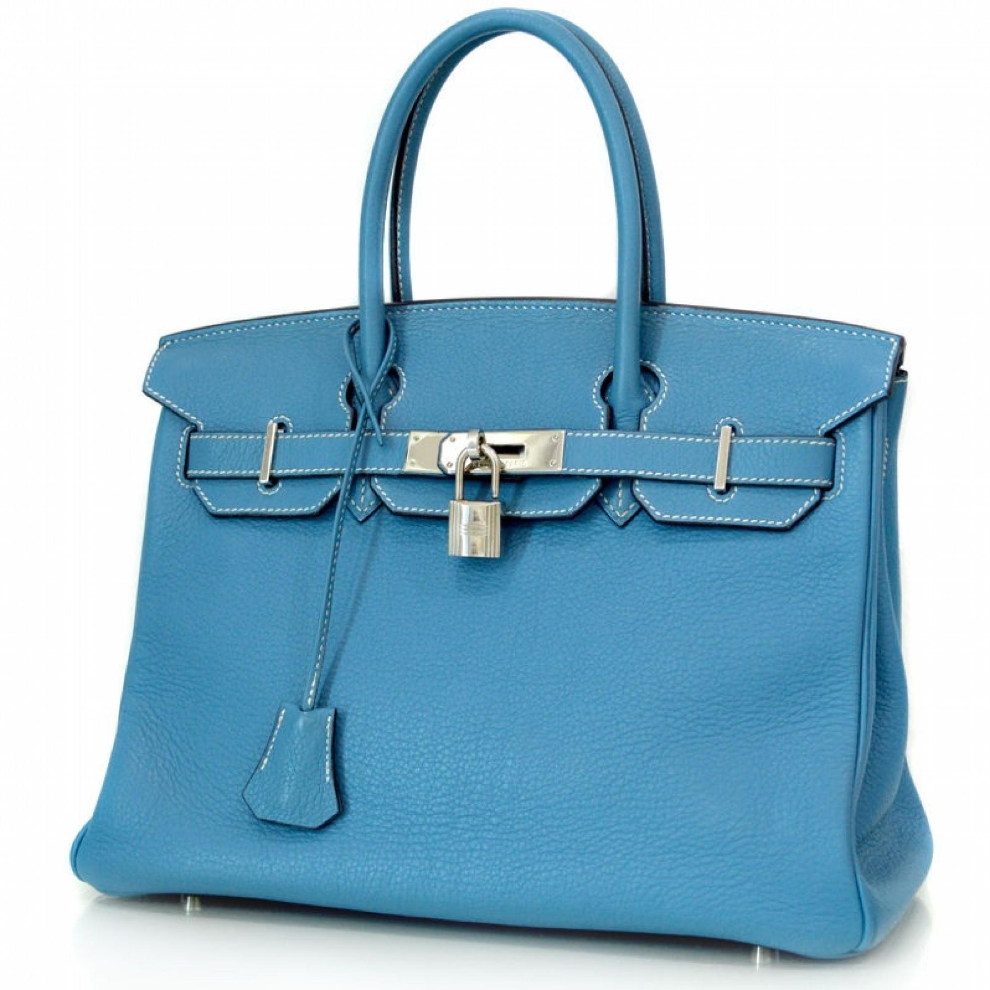 Herm��s Birkin 30 Bleu jean PHW Togo Blue Jean Leather Handbag ...