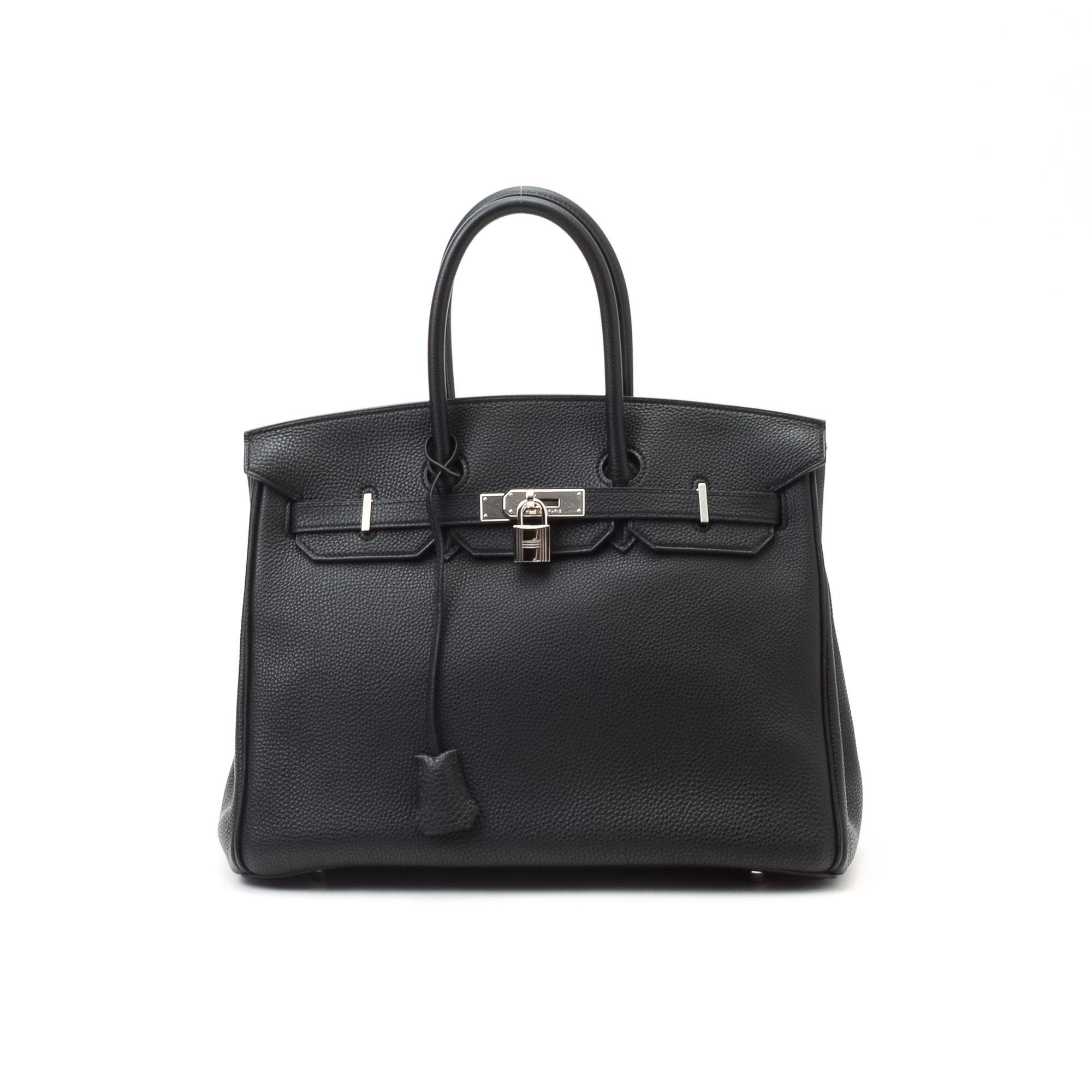 birken purses - Herm��s Birkin 35 Togo Black Calf Leather Handbag - LXR\u0026amp;CO Vintage ...
