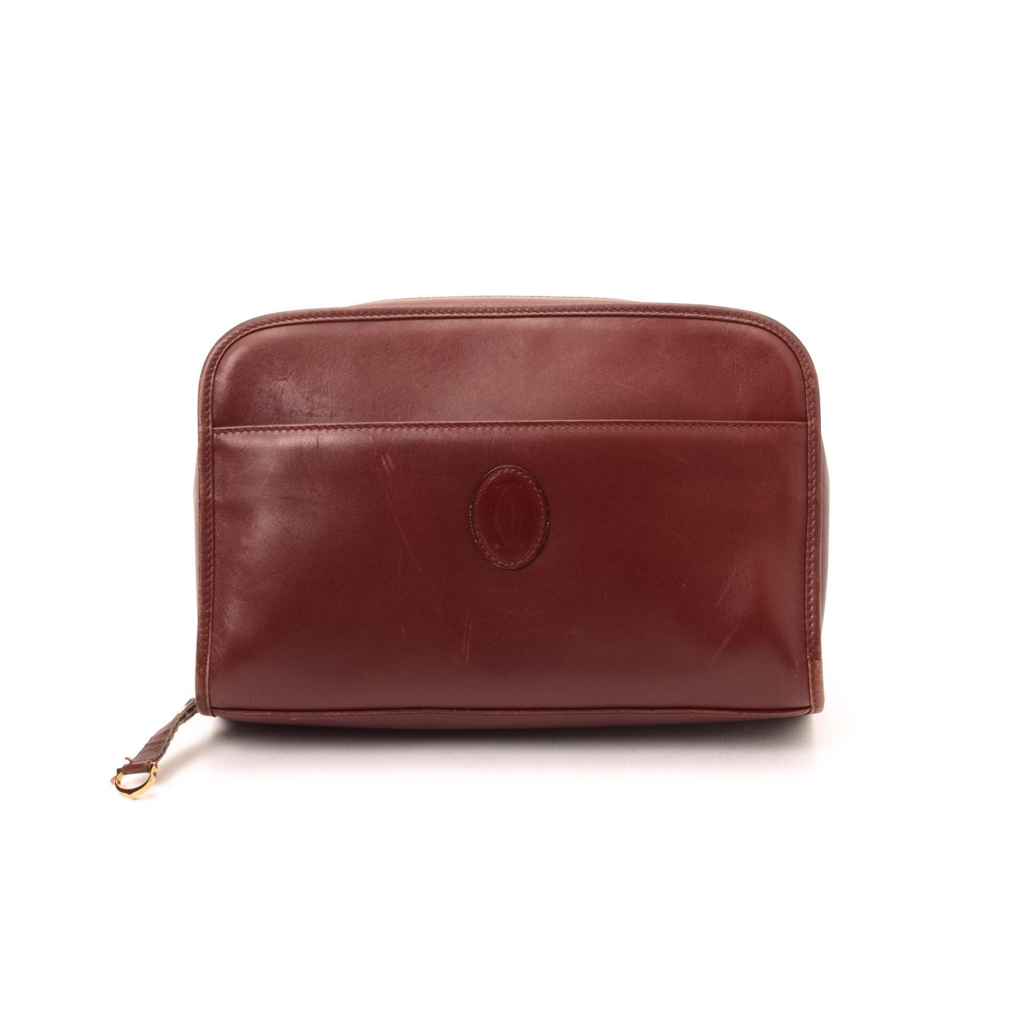 Cartier Pouch Bordeaux Leather Vanity Case \u0026amp; Pouch - LXR\u0026amp;CO ...