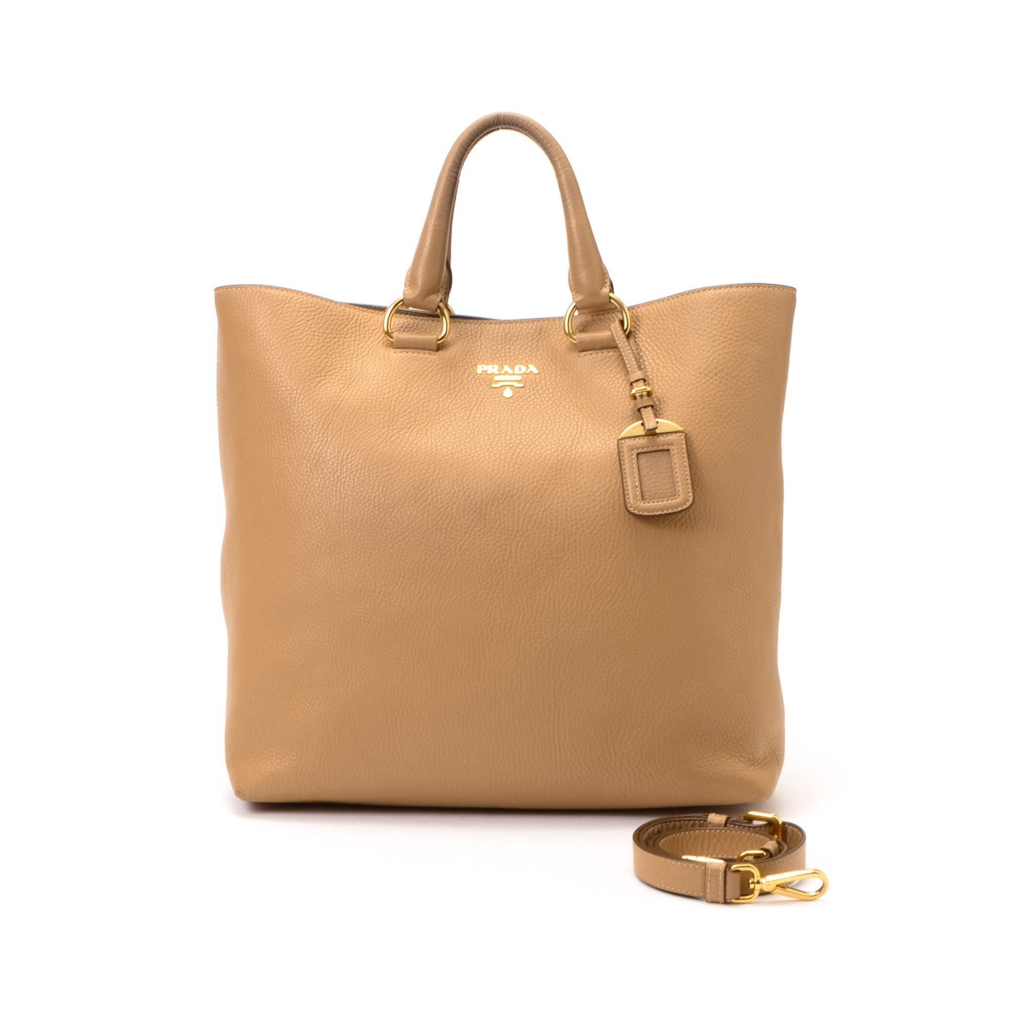 Prada Two Way Bag Beige Leather Tote - LXR\u0026amp;CO Vintage Luxury