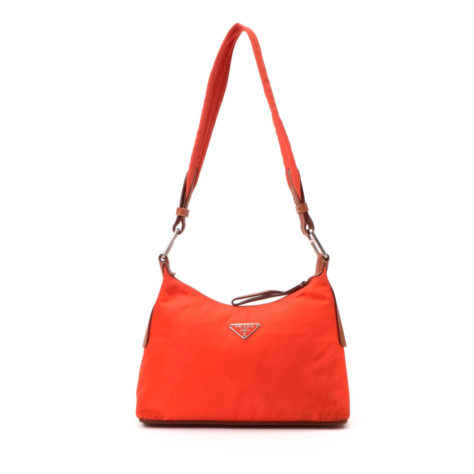 prada nylon shopping tote - Prada Tessuto Shoulder Bag Orange Nylon Shoulder Bag - LXR\u0026amp;CO ...