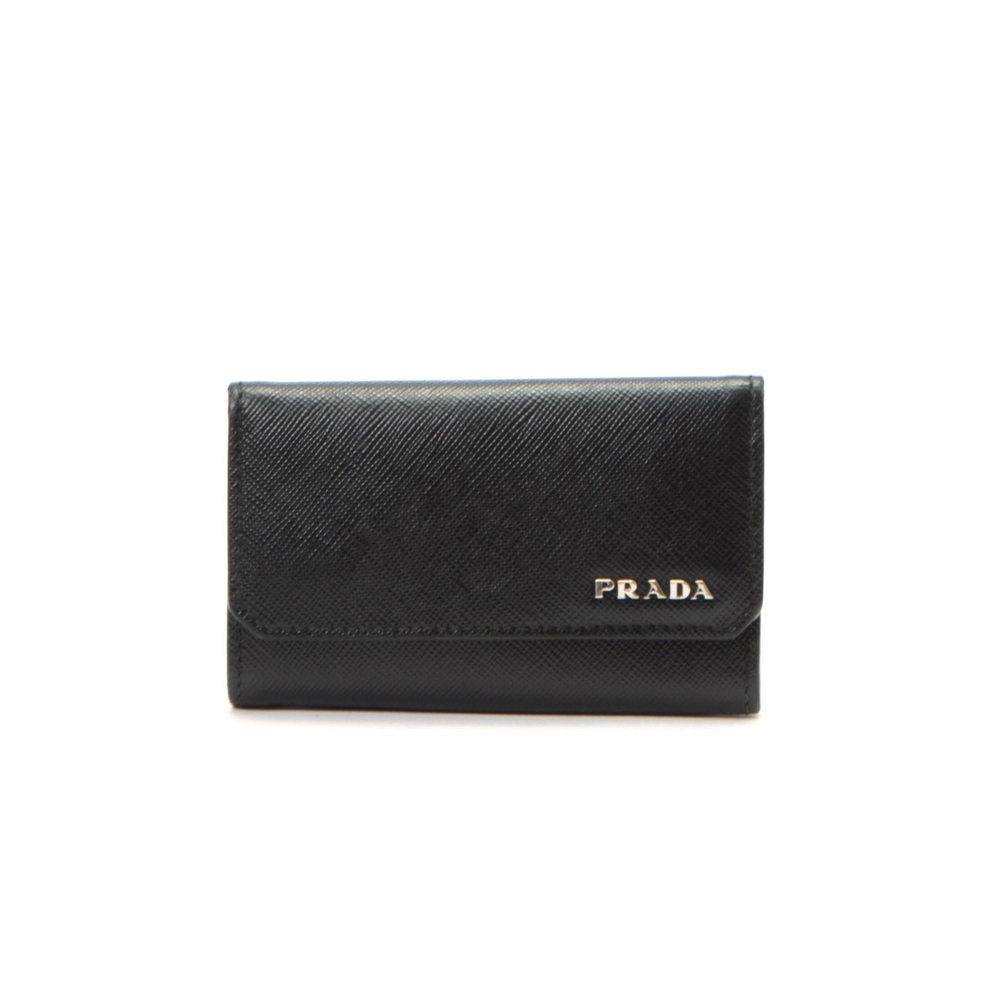 Prada Key Case Saffiano Black Calf Other Small Leather Good ...