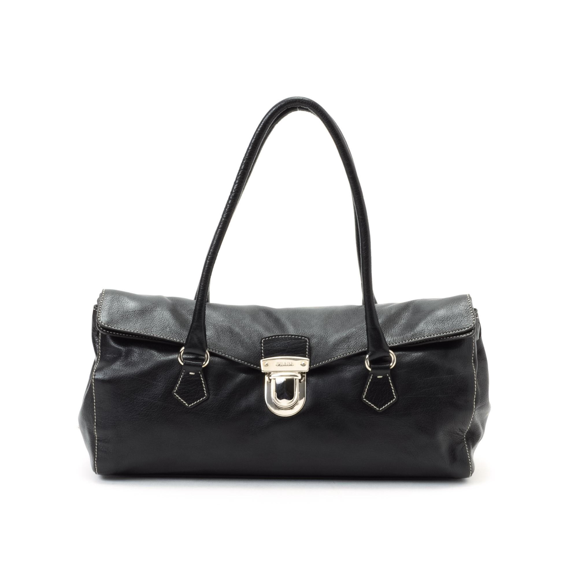 prada white handbag leather