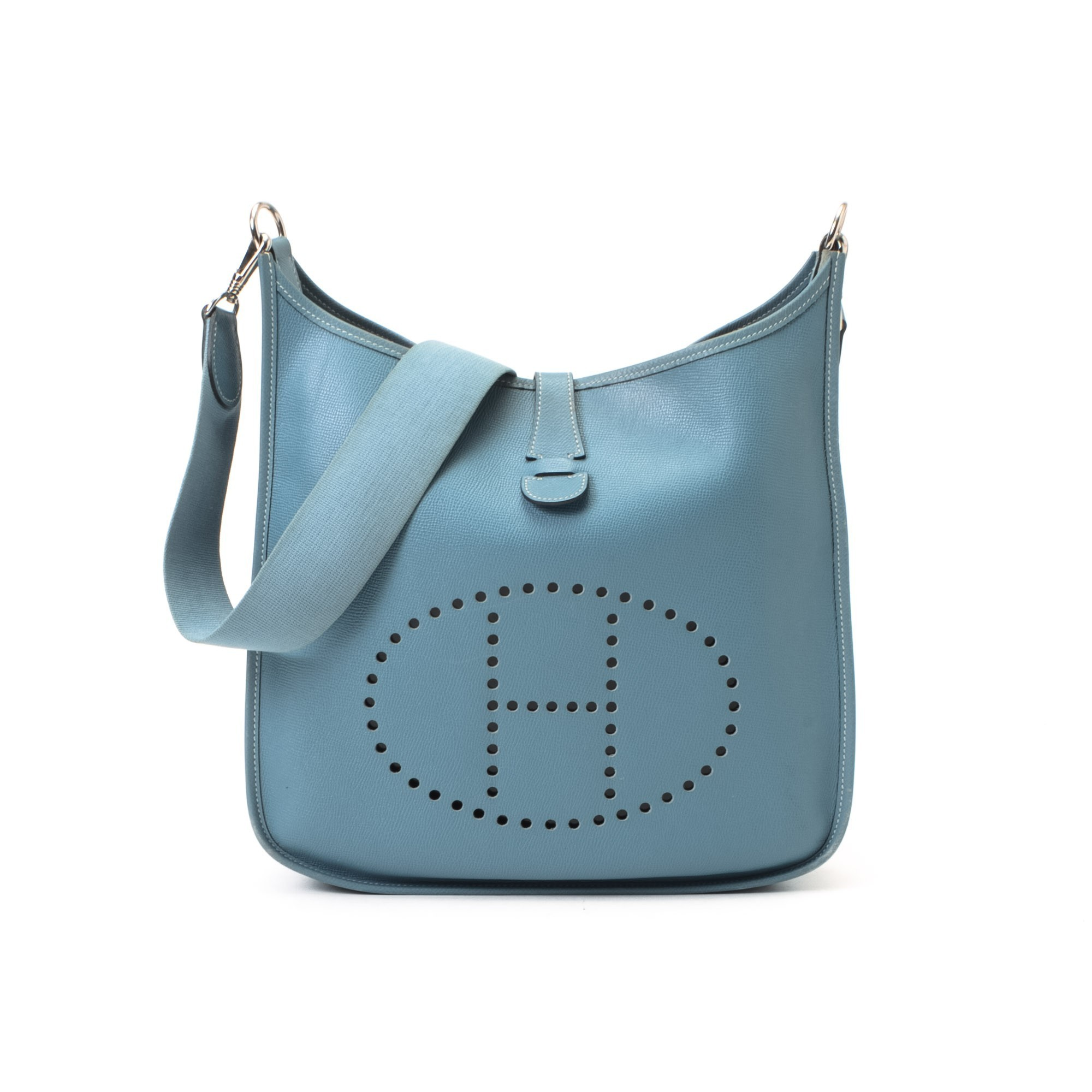 Herm¨¨s Hermes Evelyne Evelyne GM Blue Jean Calf Shoulder Bag ...