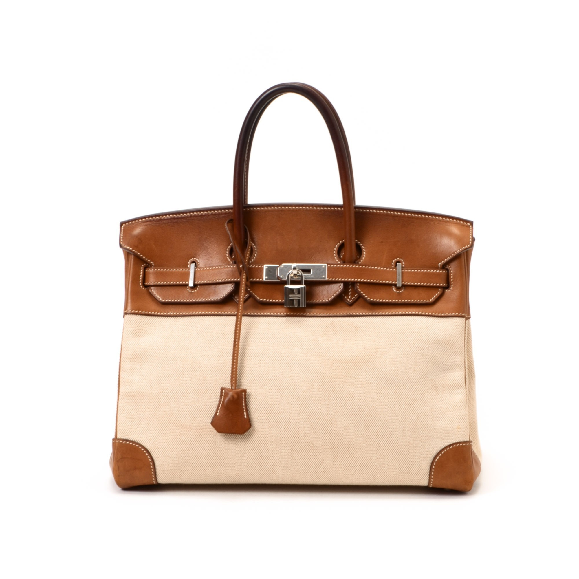 Herm¨¨s Birkin 35 Toile Veau barenia Beige, Fauve Canvas and ...