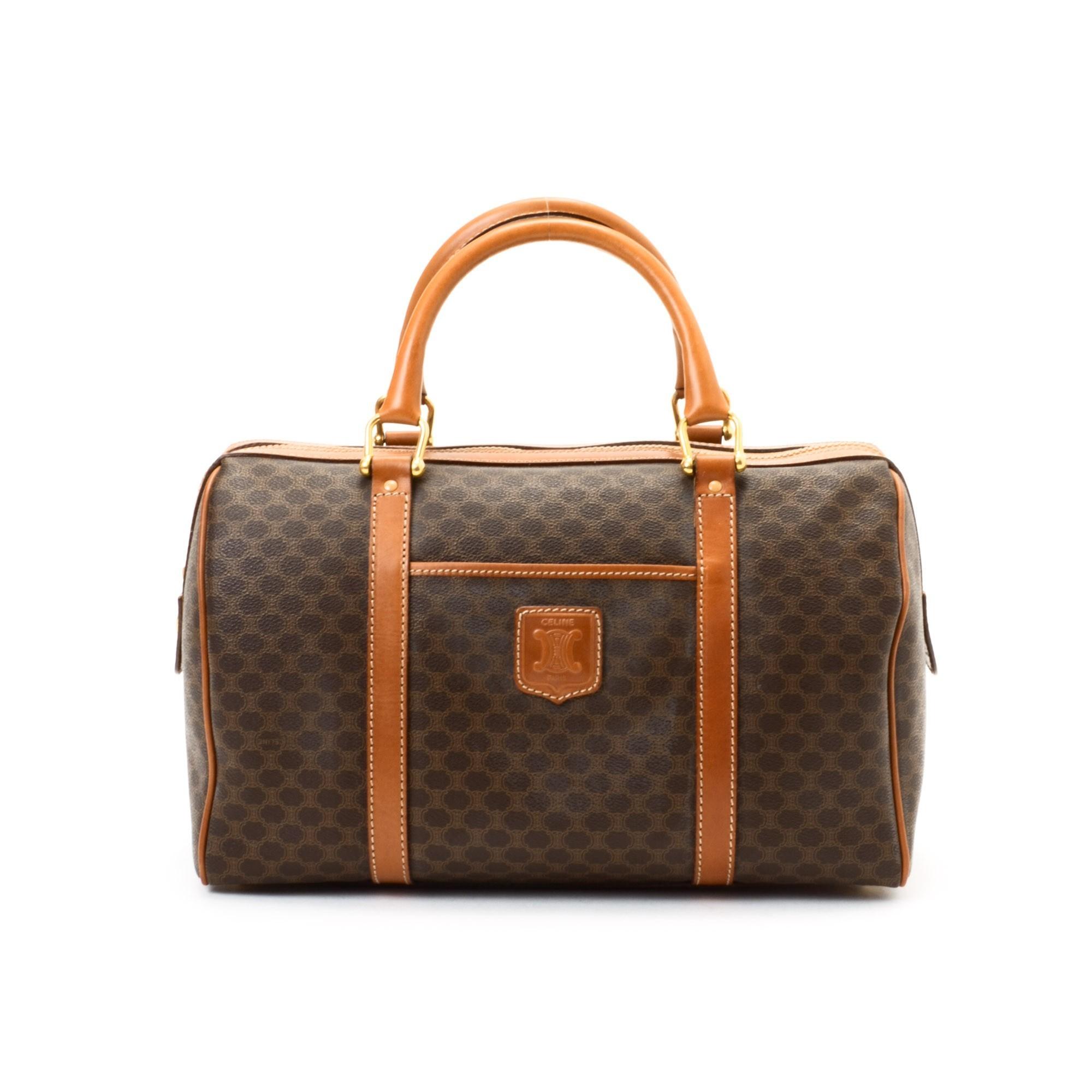C¨¦LINE Boston Bag Macadam Brown Coated Canvas Travel Bag - LXR\u0026amp;CO ...