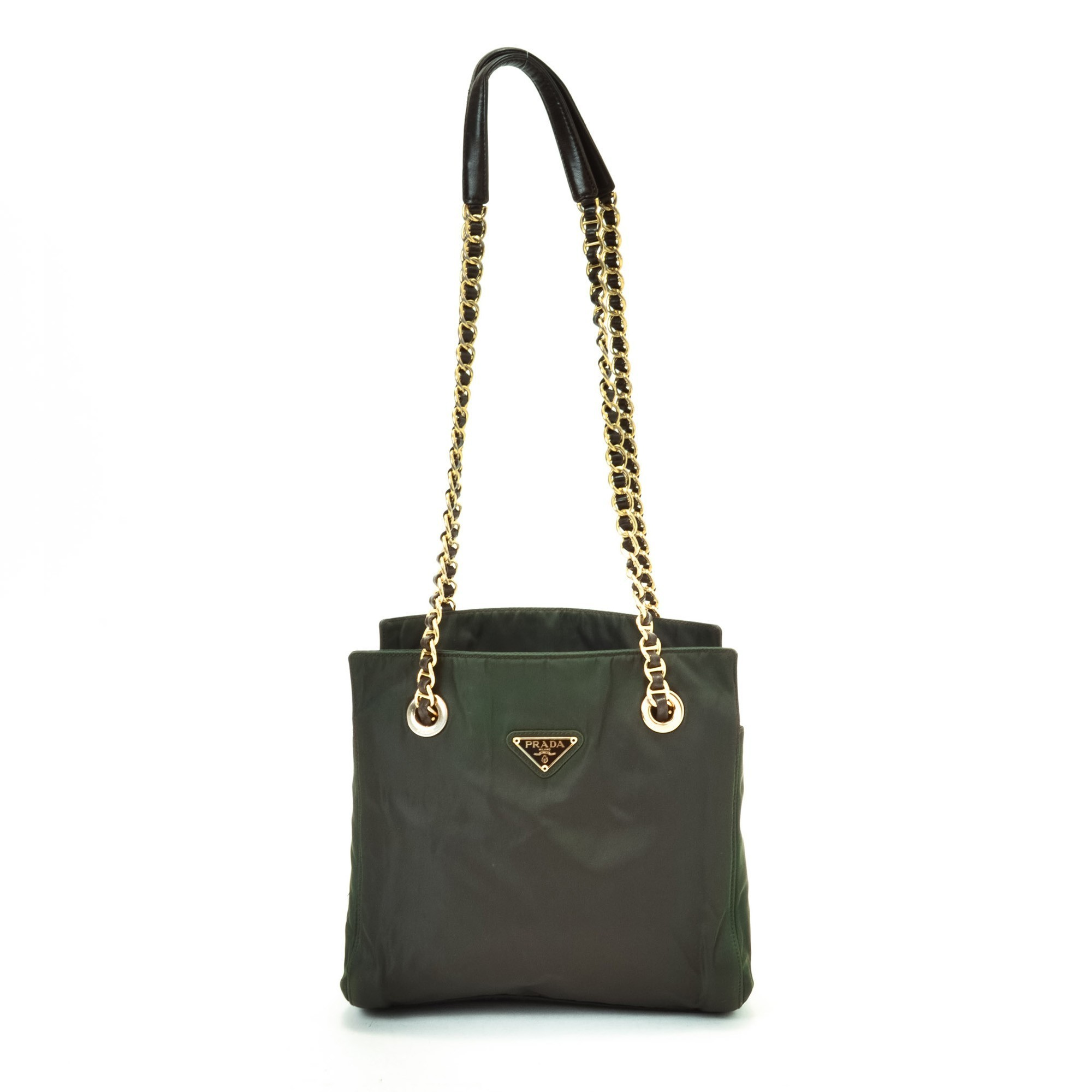 Prada Tessuto Chain Shoulder Bag Khaki Nylon Shoulder Bag - LXR\u0026amp;CO ...