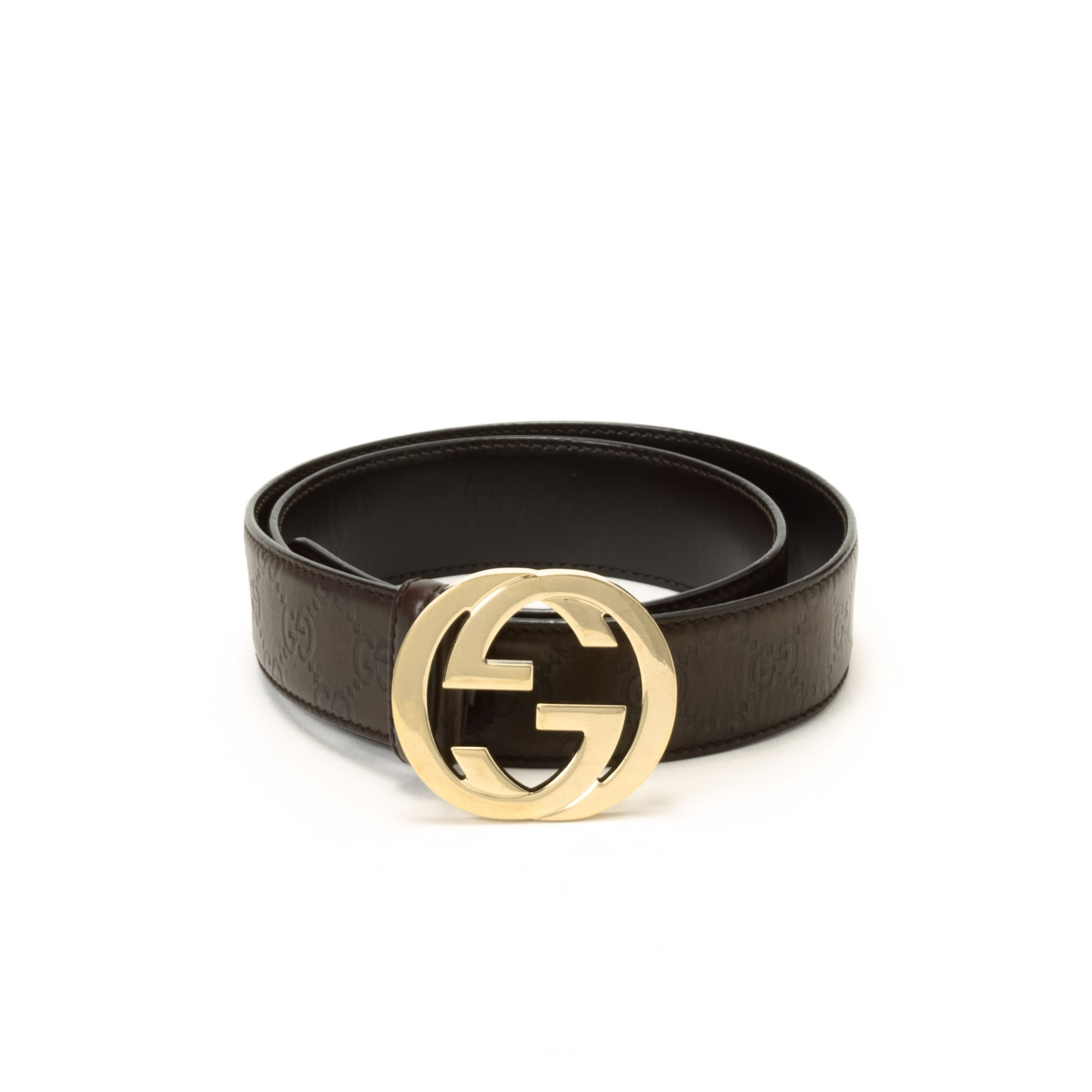 buy brown leather gucci belt at lxr co