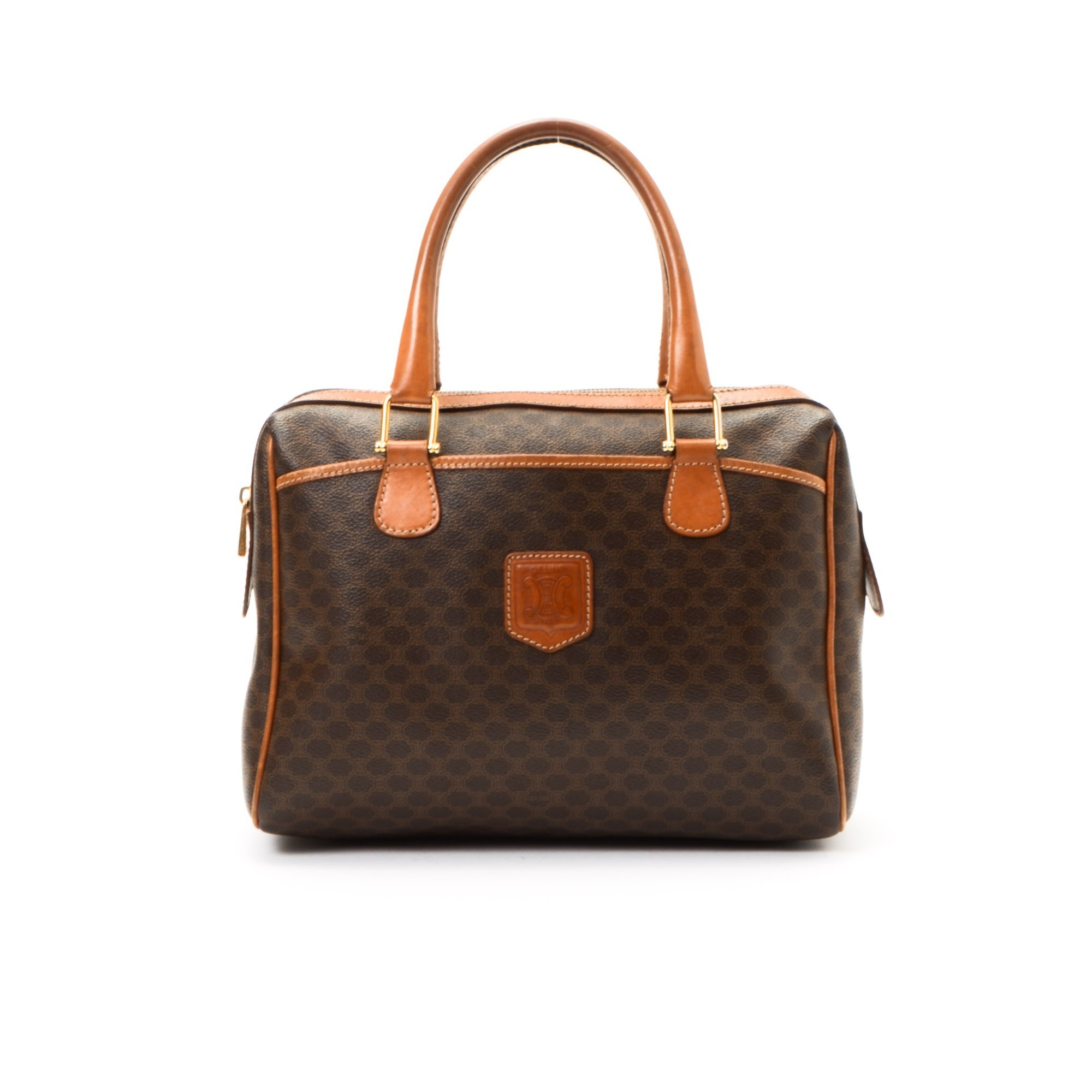 celine trapeze bag black - C��LINE Boston Bag Macadam Brown Coated Canvas Travel Bag - LXR&CO ...