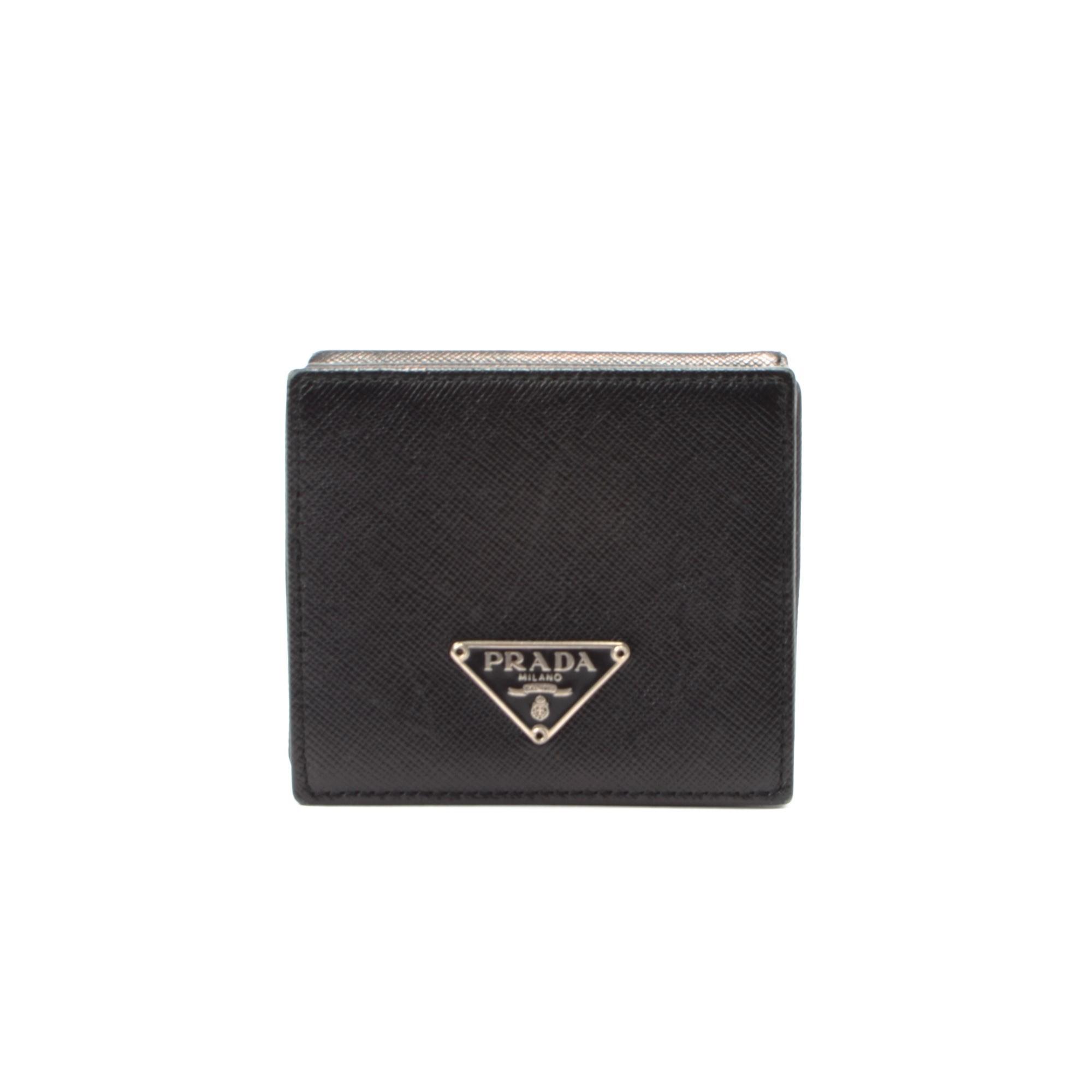 prada handbag blue - Prada Coin Case Saffiano Black Calf Wallet - LXR\u0026amp;CO Vintage Luxury