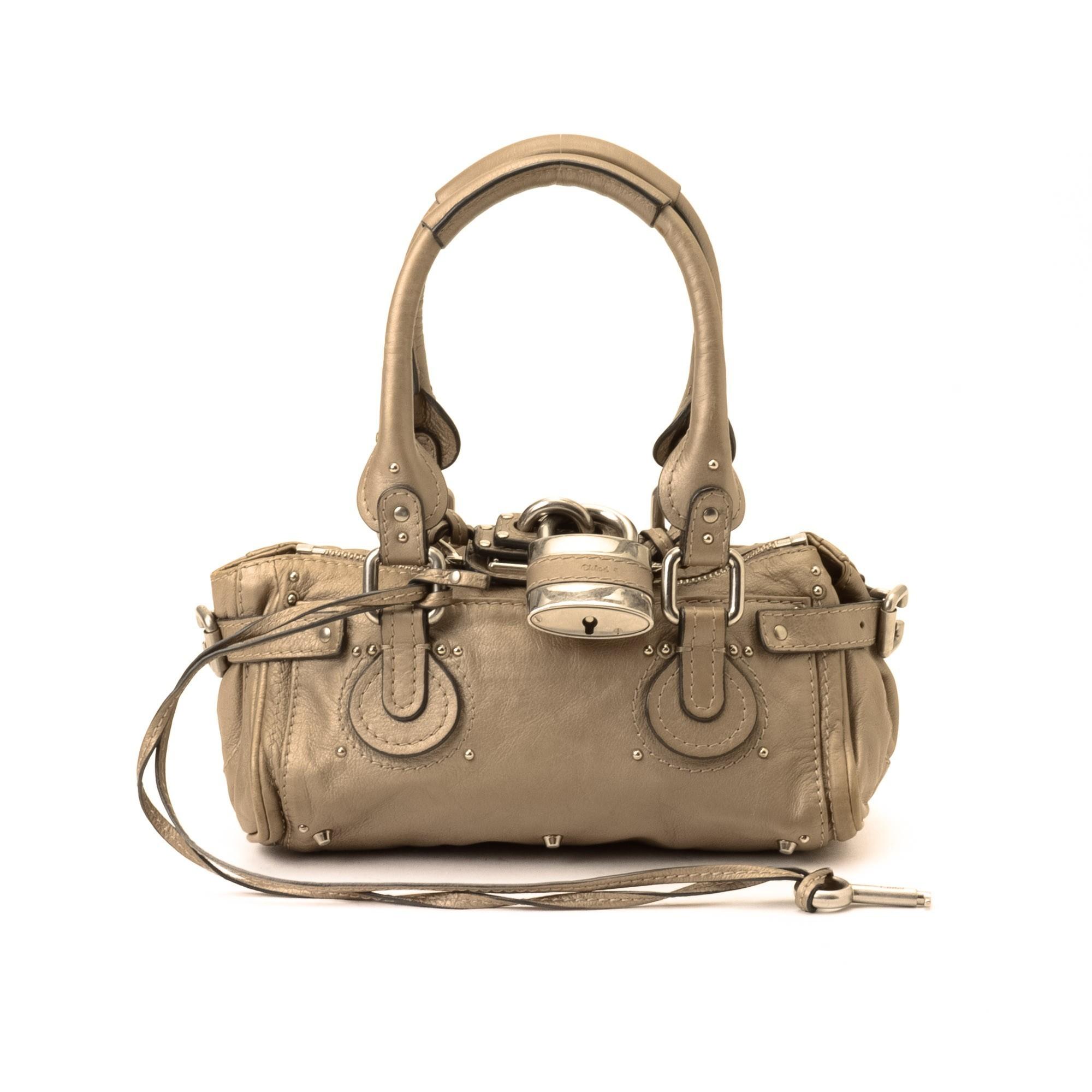 Chlo¨¦ Paddington Mini Handbag Beige Leather Handbag - LXR\u0026amp;CO ...