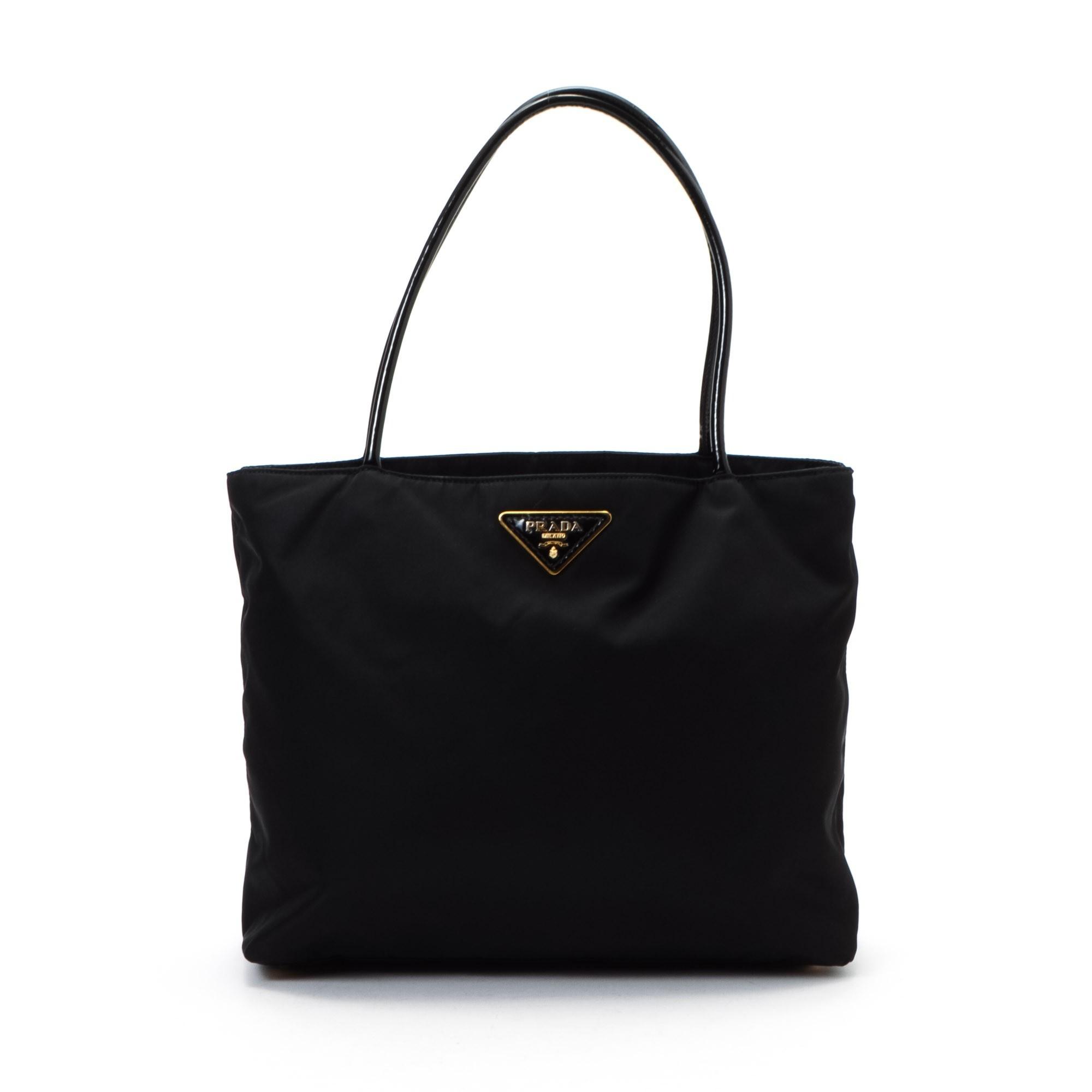 prada saffiano wallet white - Prada Tessuto Tote Black Nylon Tote - LXR\u0026amp;CO Vintage Luxury