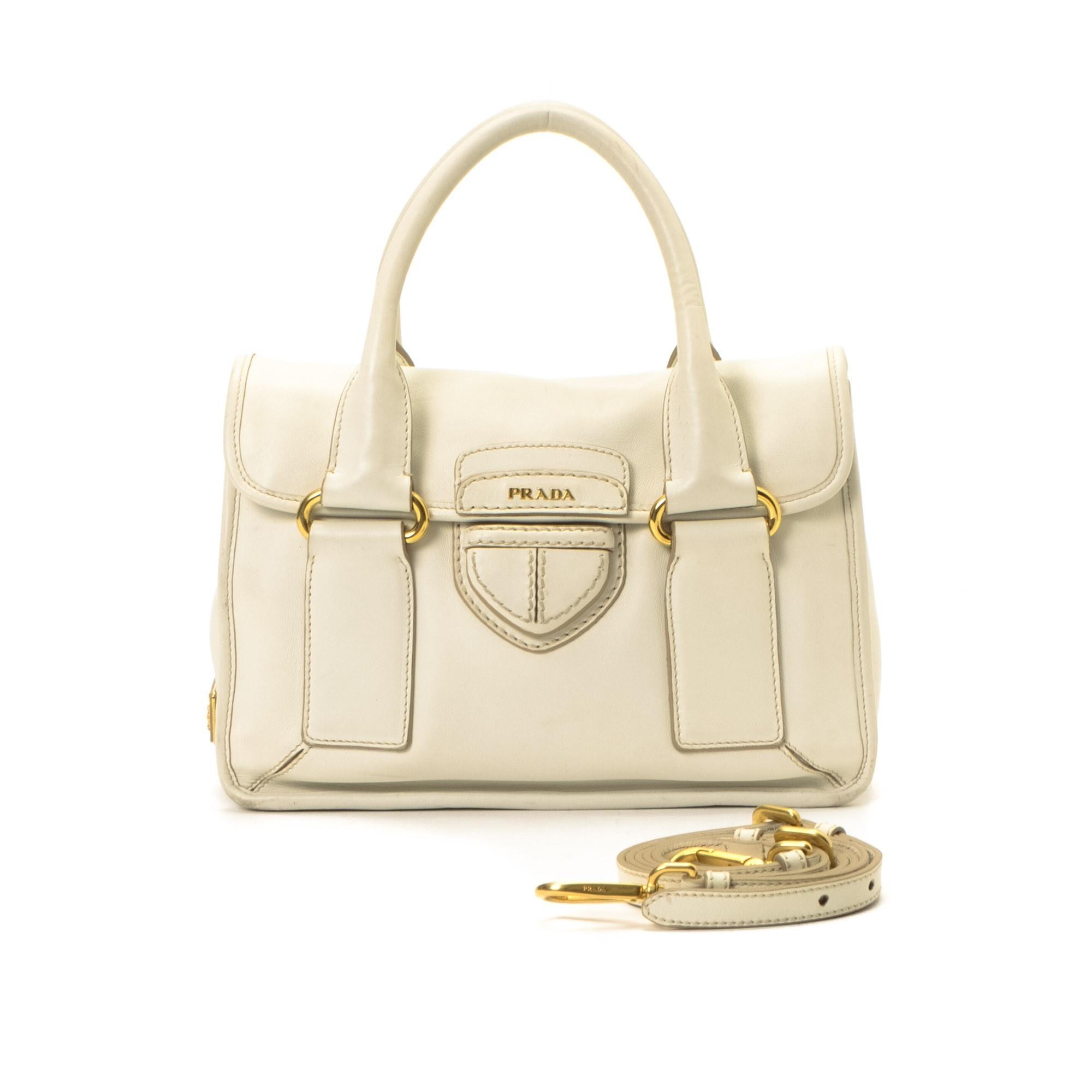 prada purse cost - Prada Two Way Bag White Leather Handbag - LXR&CO Vintage Luxury