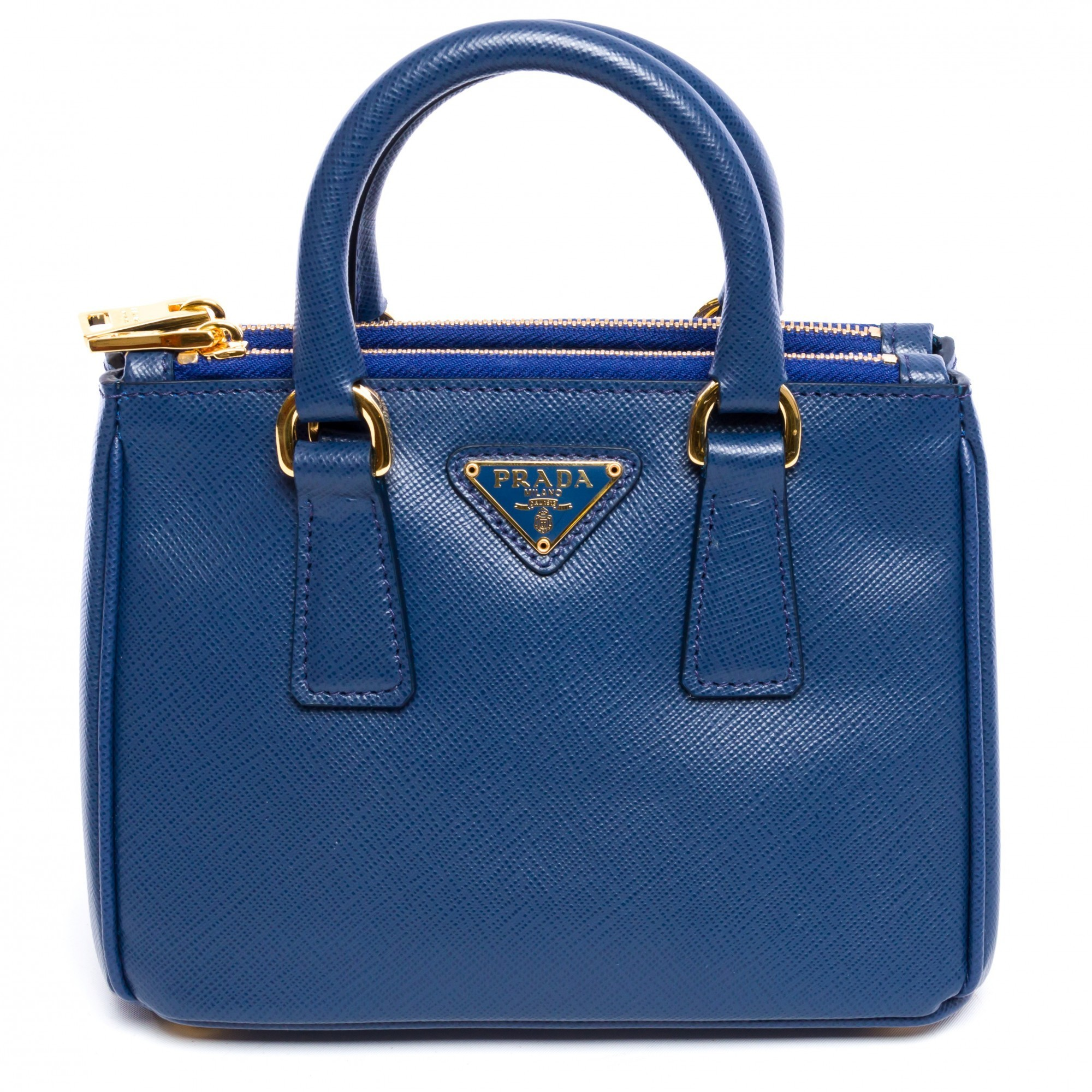 Prada Saffiano Mini Galleria 1BH907 Bluette Saffiano Blue Leather ...
