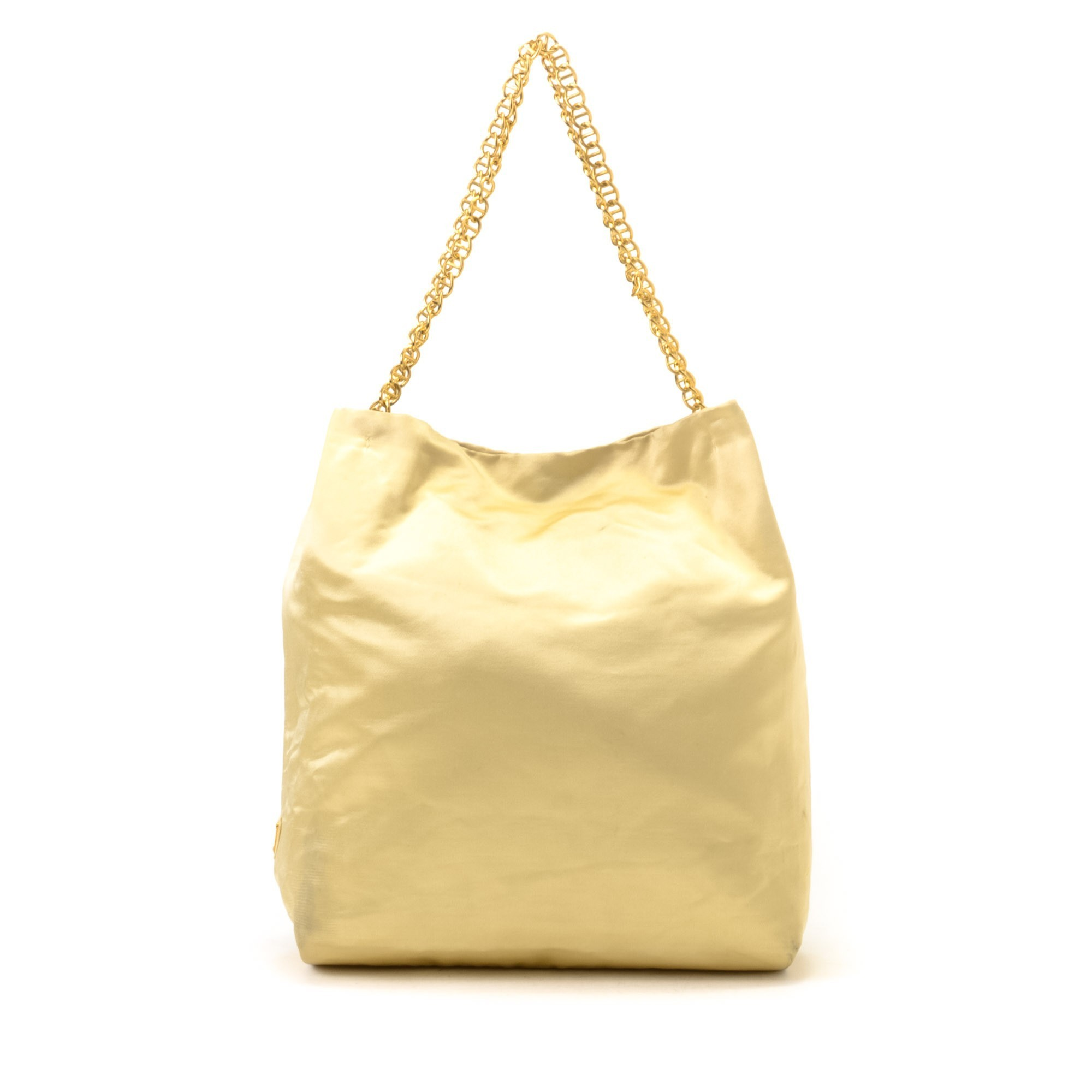 prada replica purse - Prada Chain Tote Yellow Satin Tote - LXR&CO Vintage Luxury