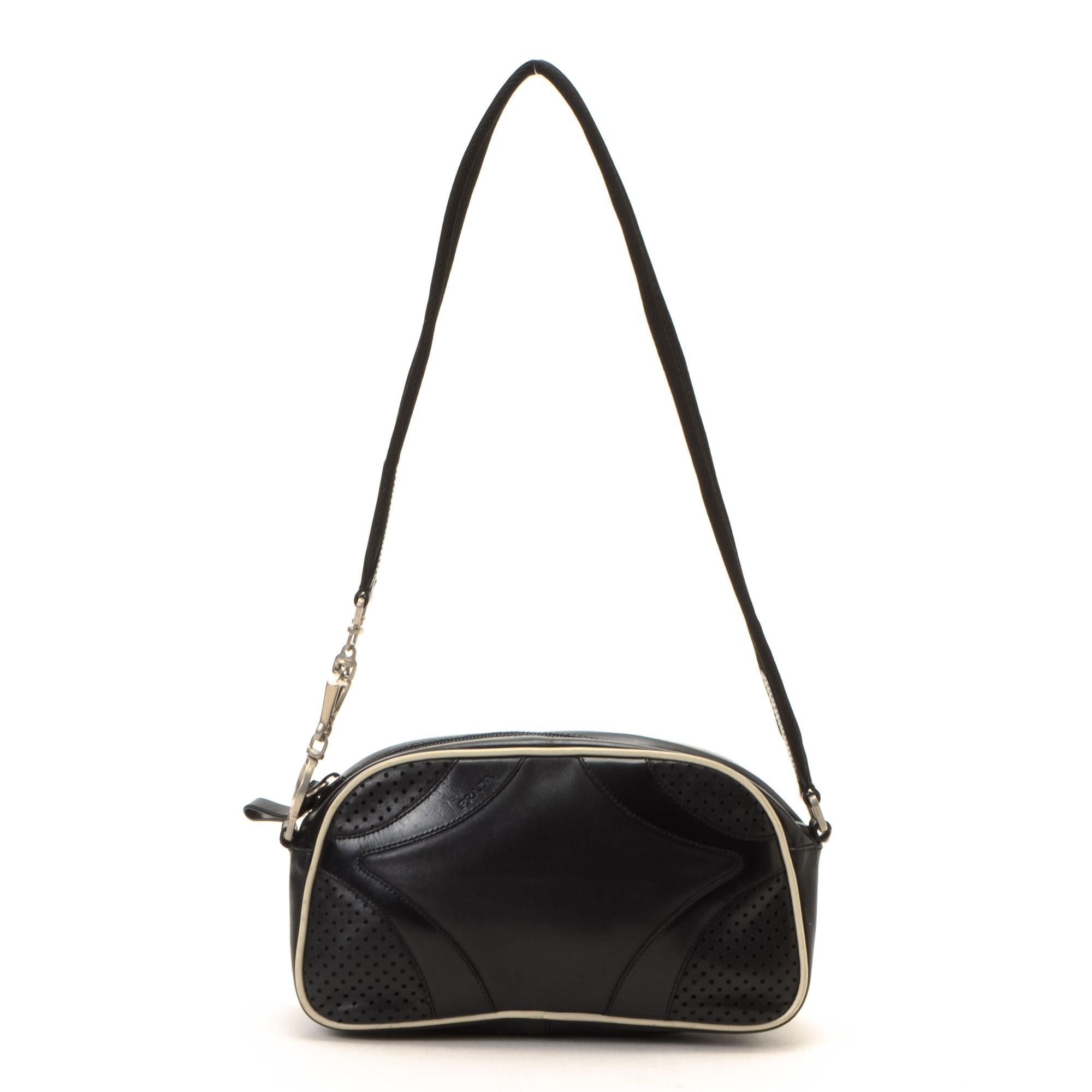 Prada Shoulder Bag Black Leather Shoulder Bag - LXR\u0026amp;CO Vintage Luxury