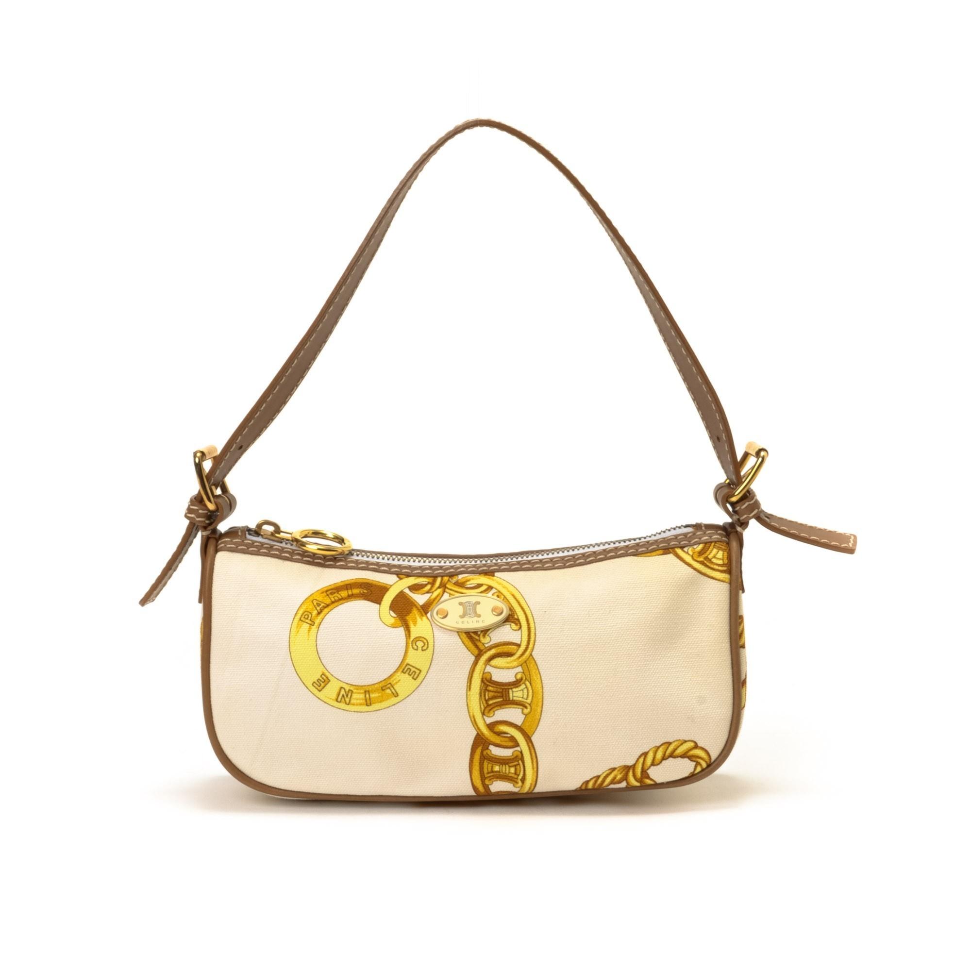 C¨¦LINE Handbag Cream Canvas Handbag - LXR\u0026amp;CO Vintage Luxury