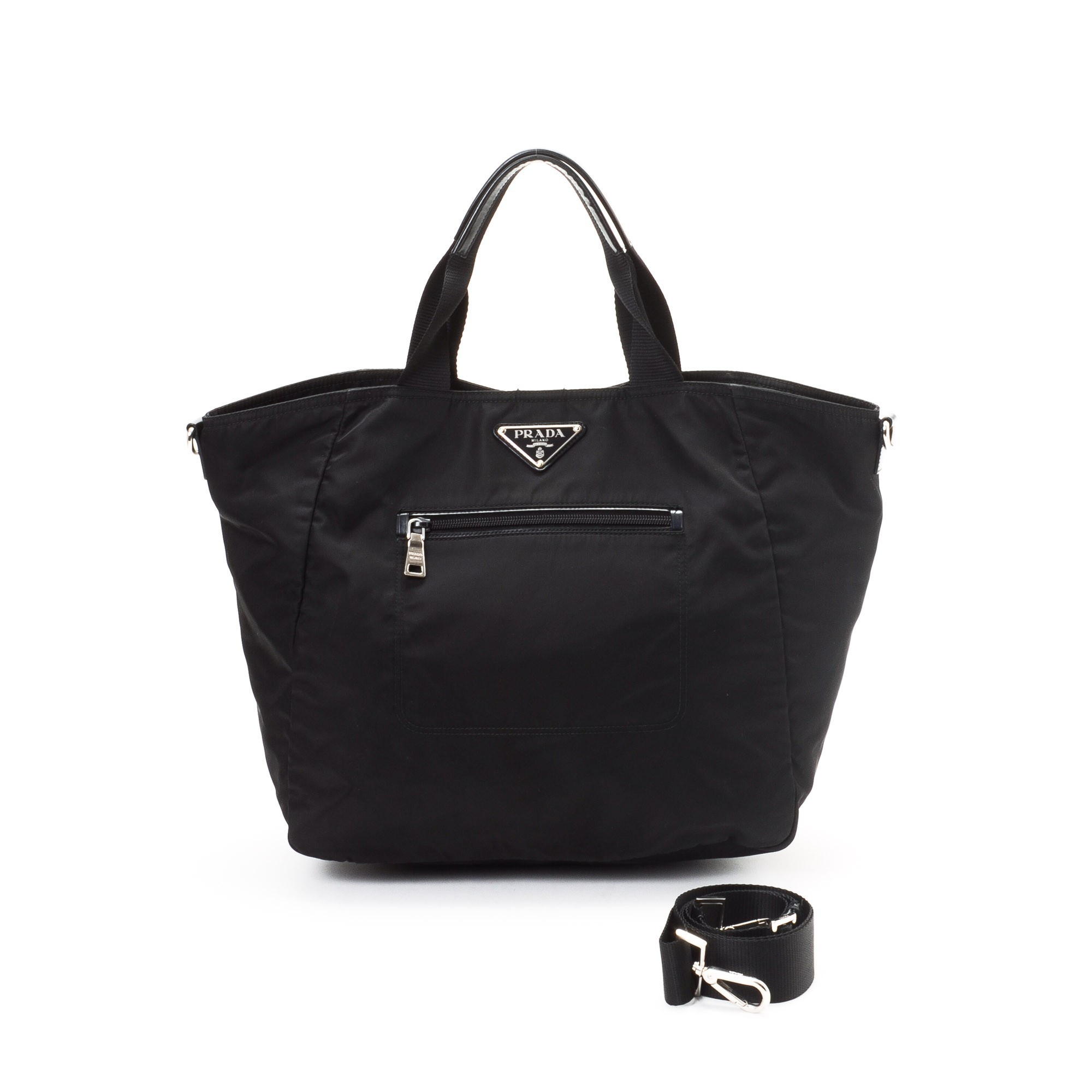 Prada Tessuto Two Way Bag Nylon Tote - LXR\u0026amp;CO Vintage Luxury