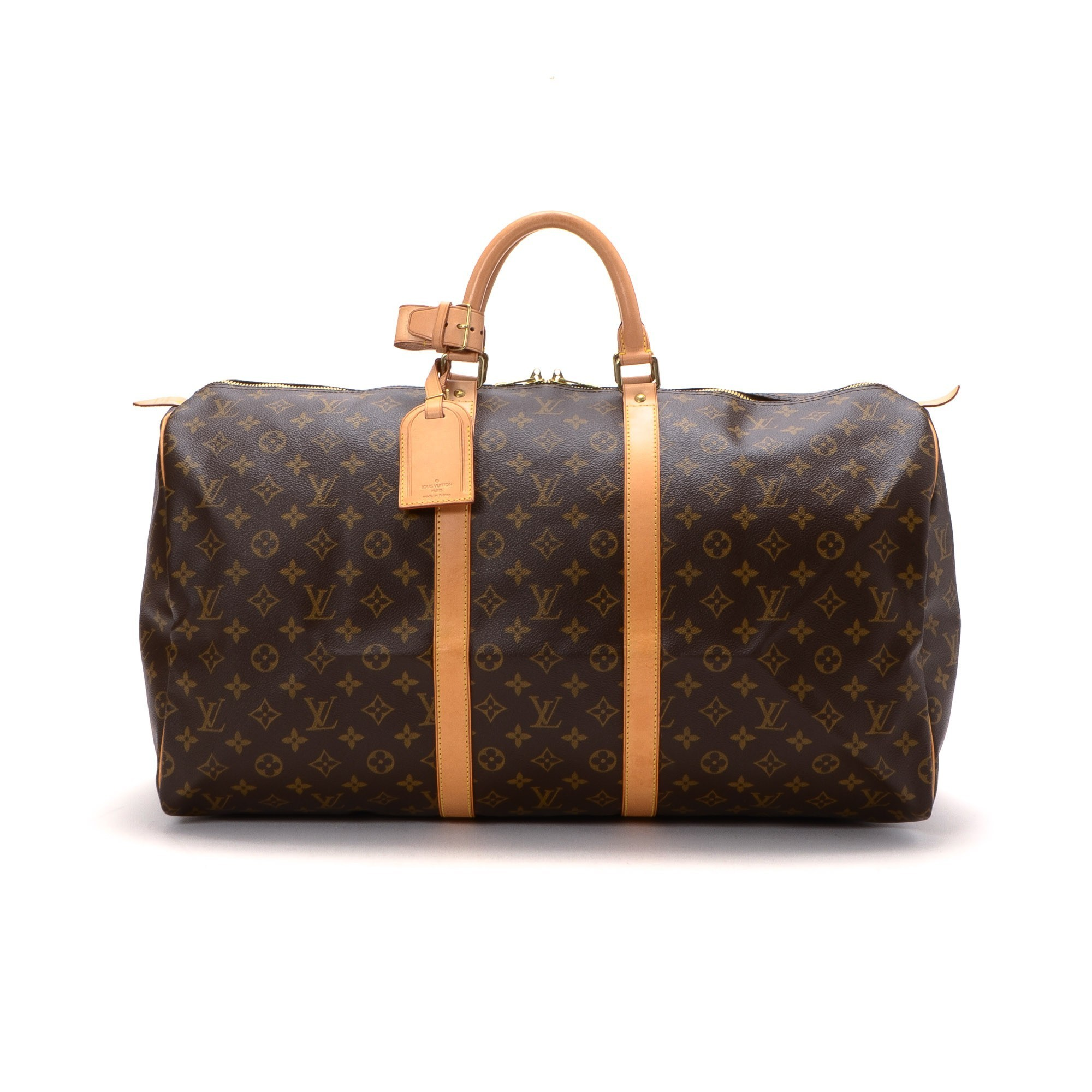 Louis Vuitton Keepall 55 Monogram Brown Coated Canvas Travel Bag ...