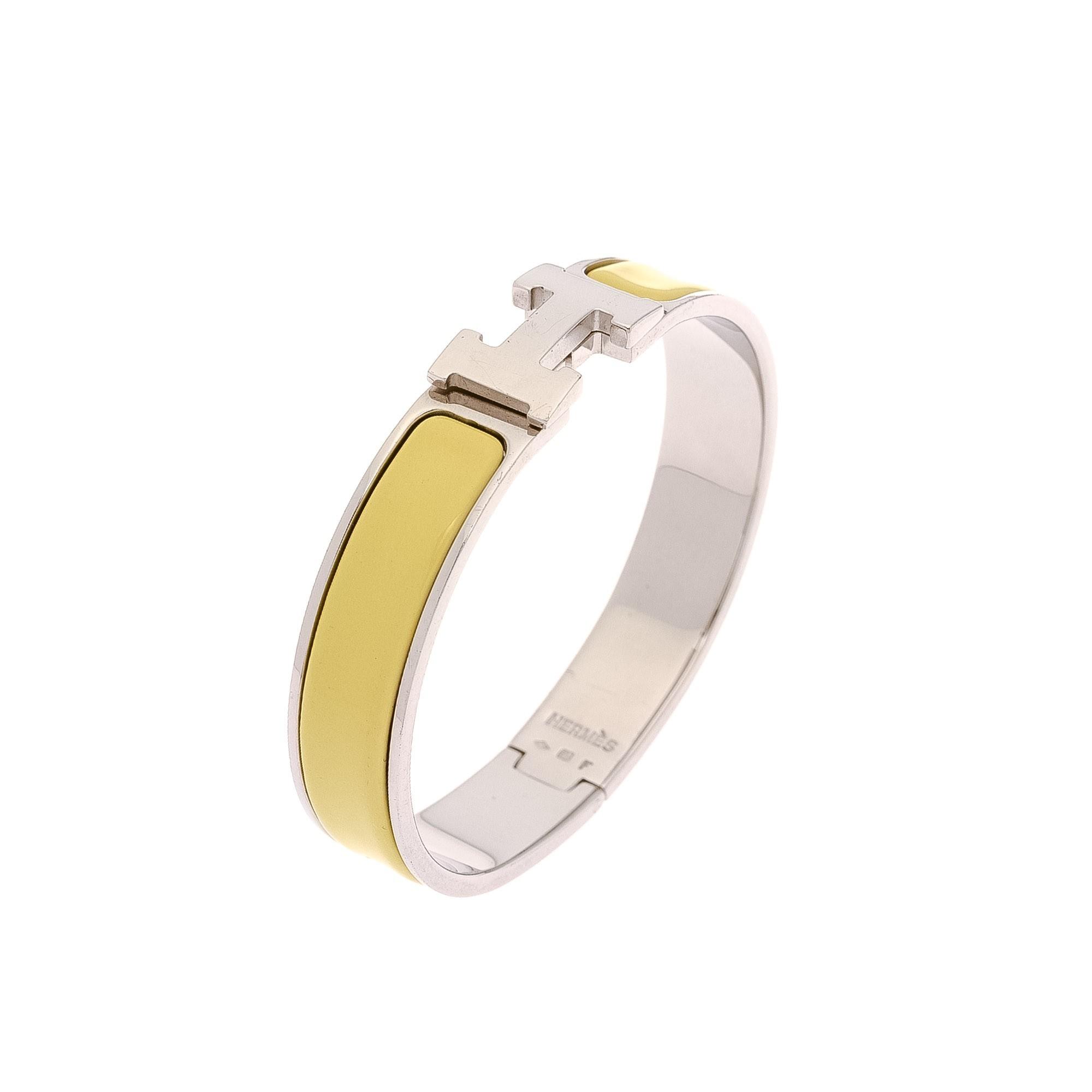 herm 232 s clic clac h bangle yellow palladium plated brass leather bracelet bangle lxr co