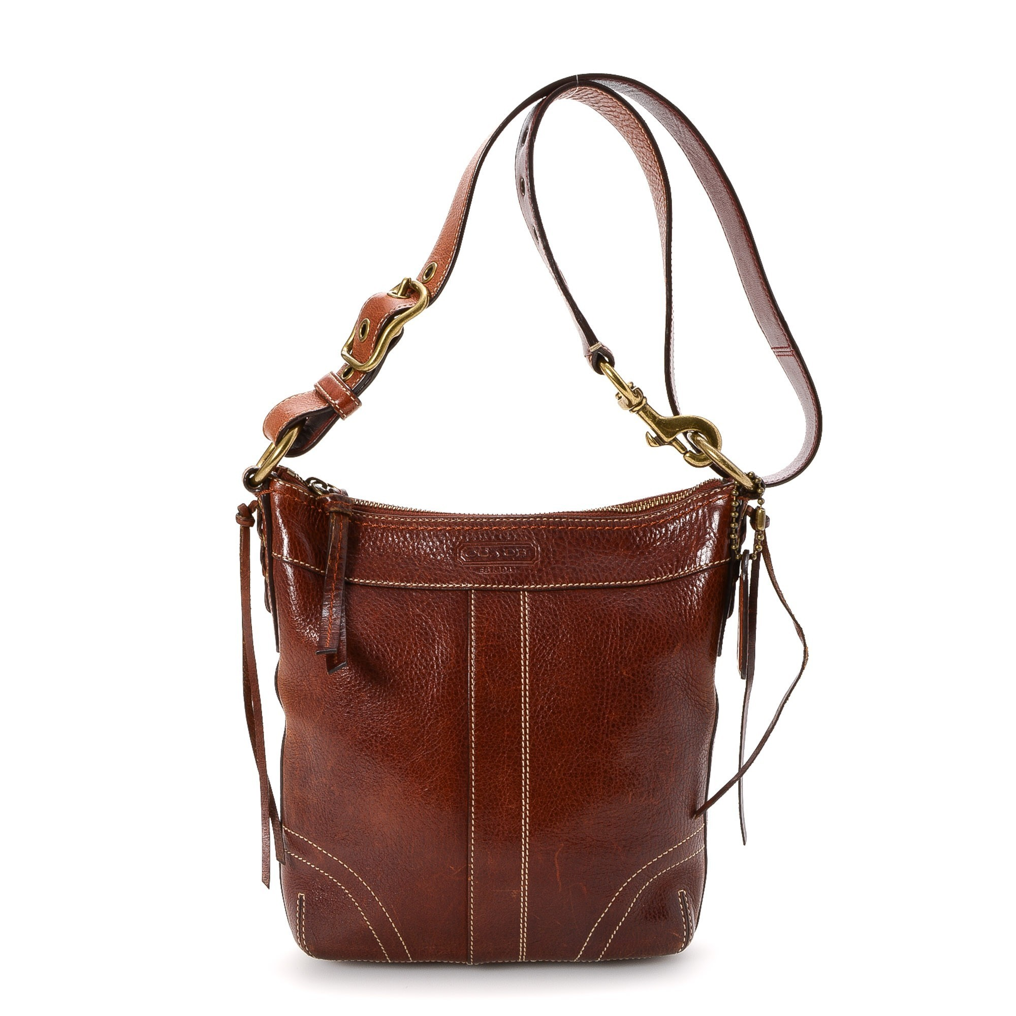 buy cognac leather coach messenger crossbody bag at lxr co. Black Bedroom Furniture Sets. Home Design Ideas