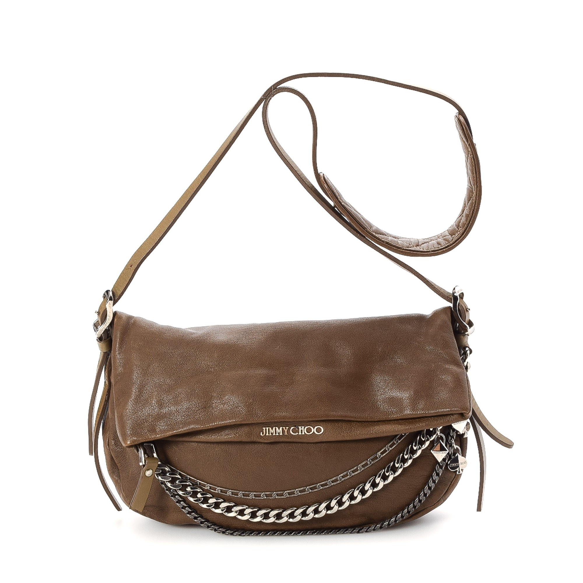 Buy Brown Leather Jimmy Choo Messenger & Crossbody Bag at ...