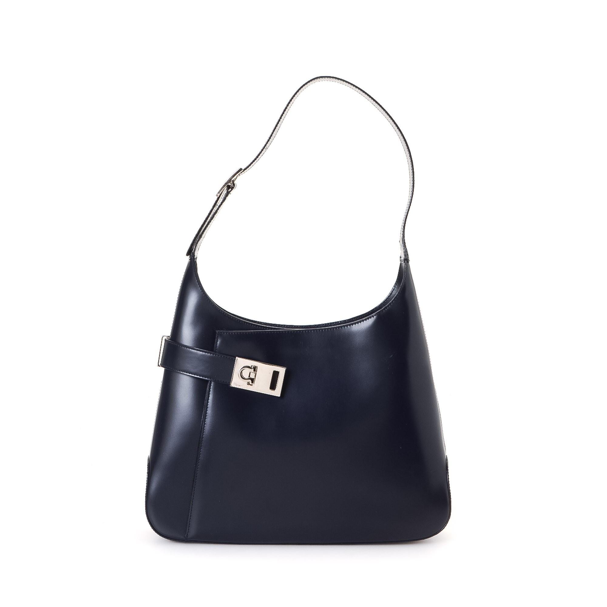 Ferragamo Shoulder Bag Gancini Black Box Calf Shoulder Bag LXRCO