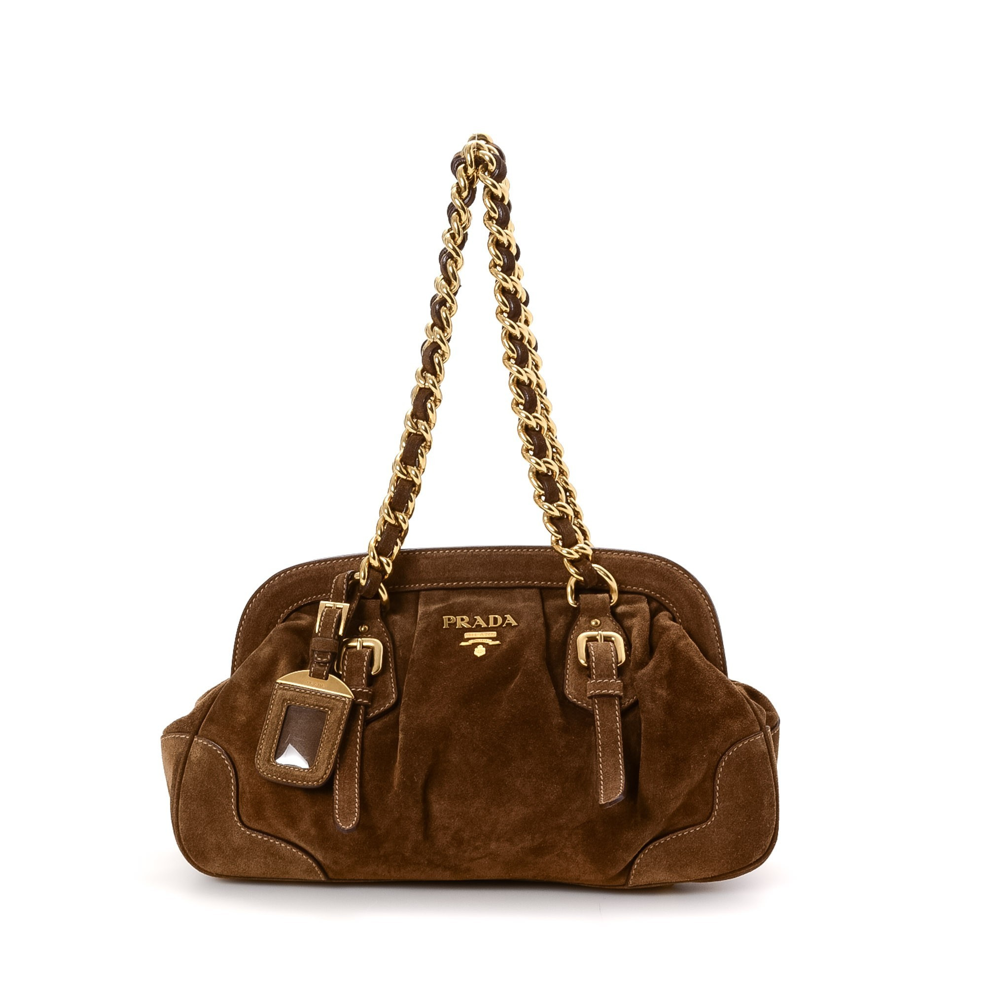 Prada Chain Shoulder Bag Brown Suede Shoulder Bag LXRCO