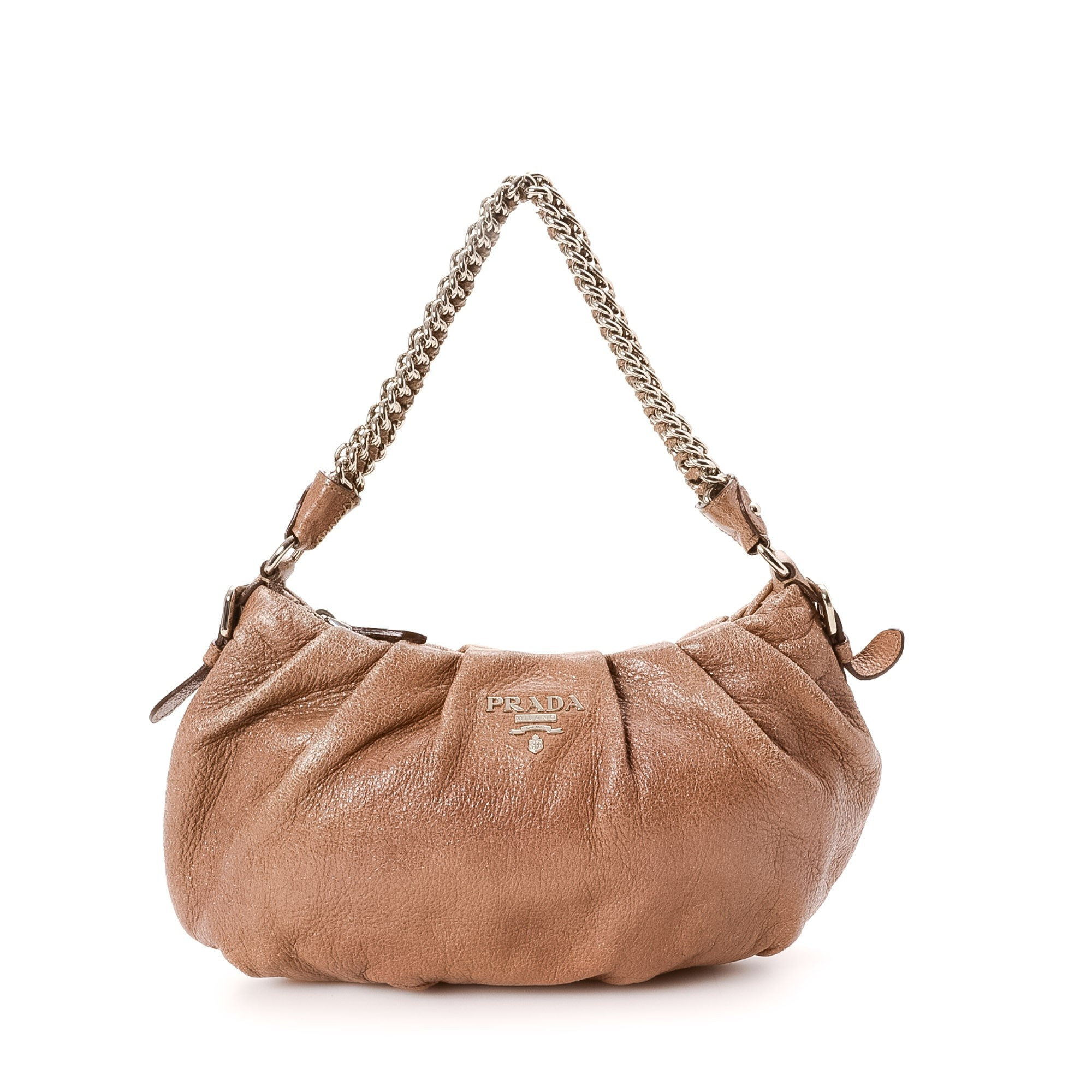Prada Chain Shoulder Bag Brown Leather Shoulder Bag LXRCO