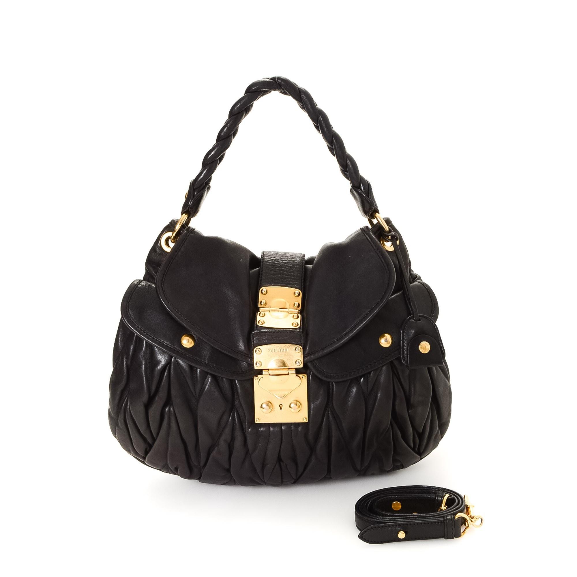 Miu Miu Matelasse Coffer Two Way Bag Matelasse lux Black Leather Shoulder Bag LXRCO