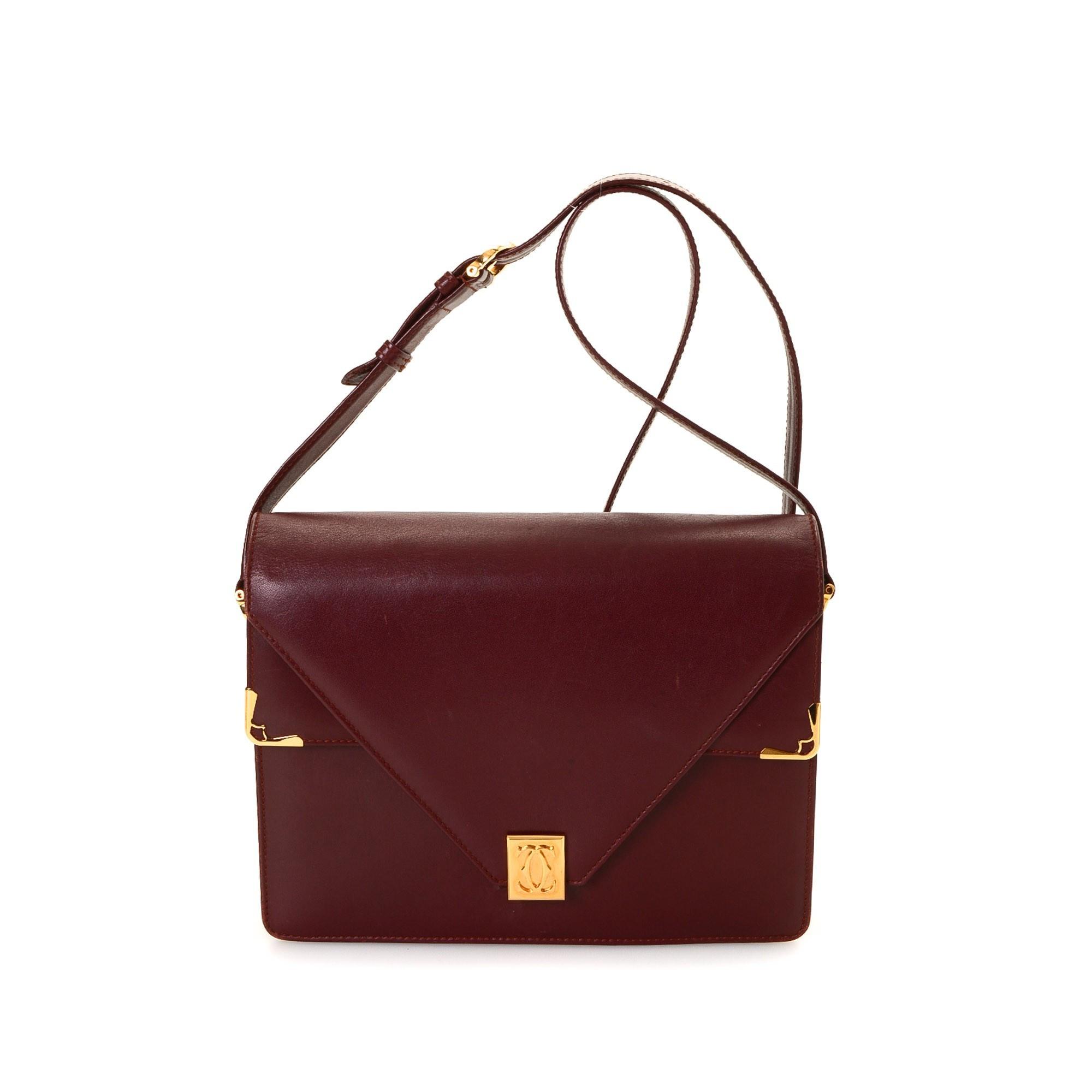 Cartier Double Flap Shoulder Bag Box Calf Bordeaux Box Calf Shoulder Bag LXRCO
