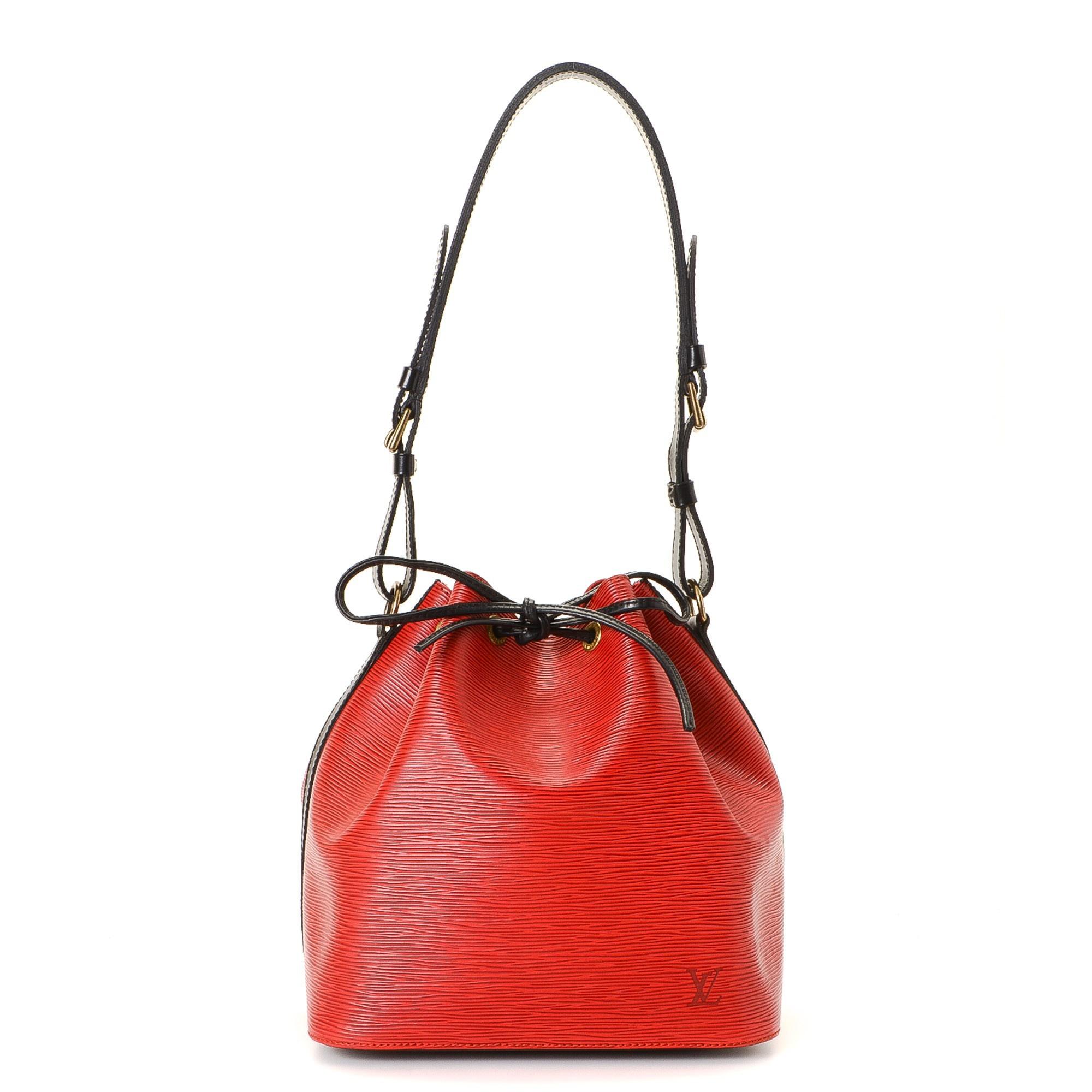 Louis Vuitton Petit Noe Epi Red Leather Shoulder Bag LXRCO