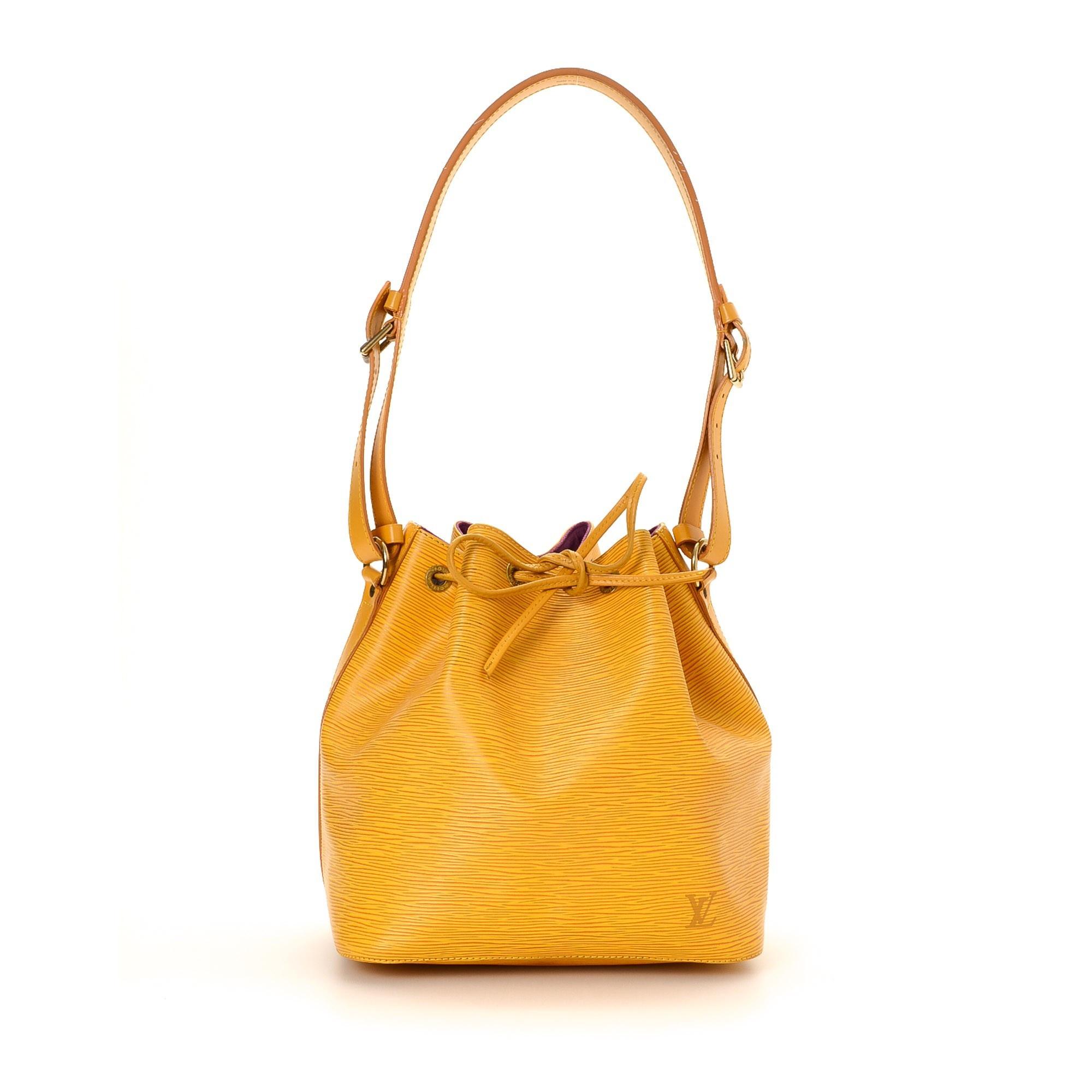 Louis Vuitton Petit Noe Epi Yellow Leather Shoulder Bag LXRCO