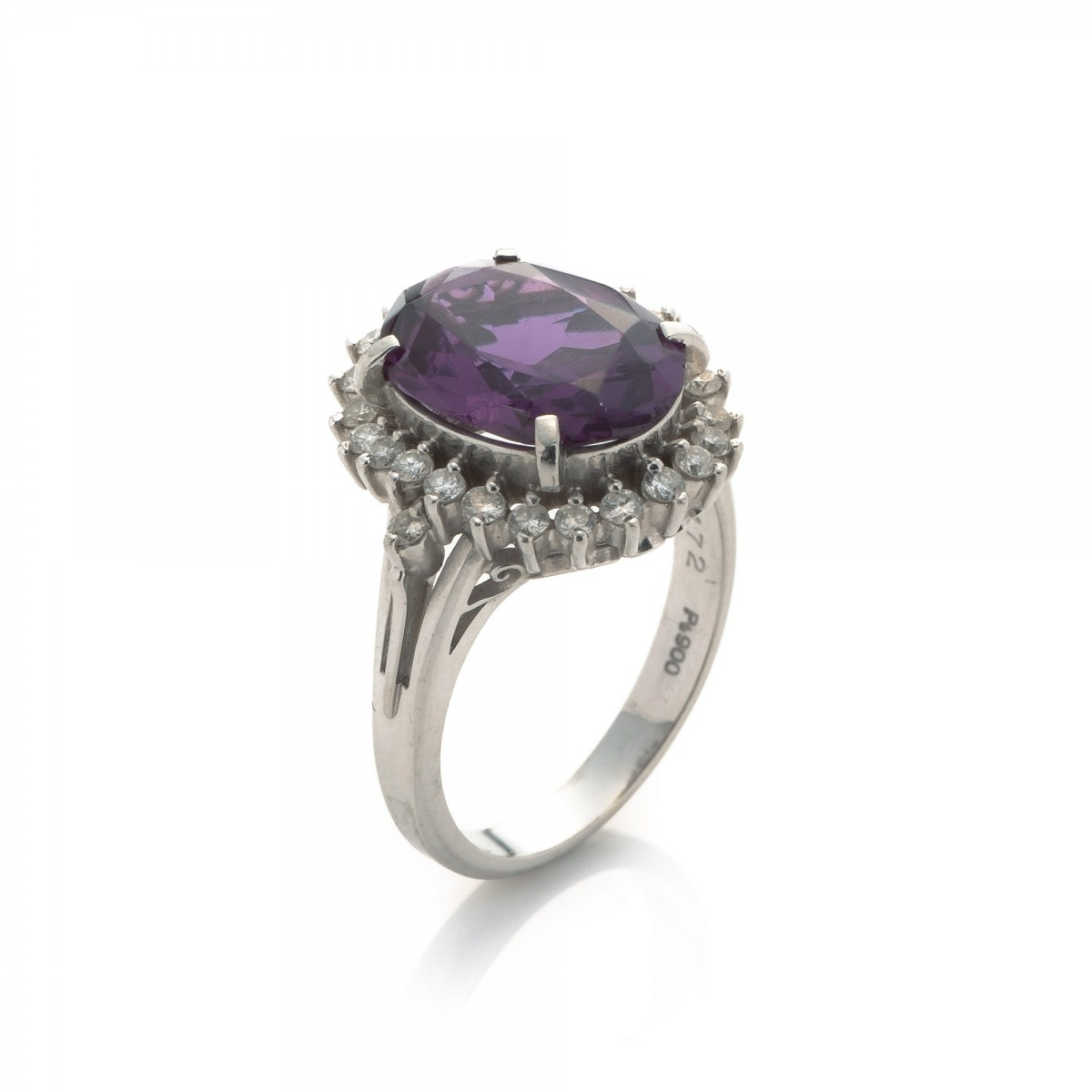 Estate Jewelry Amethyst & Diamond Ring Platinum  Lxrandco  Preowned  Luxury Vintage
