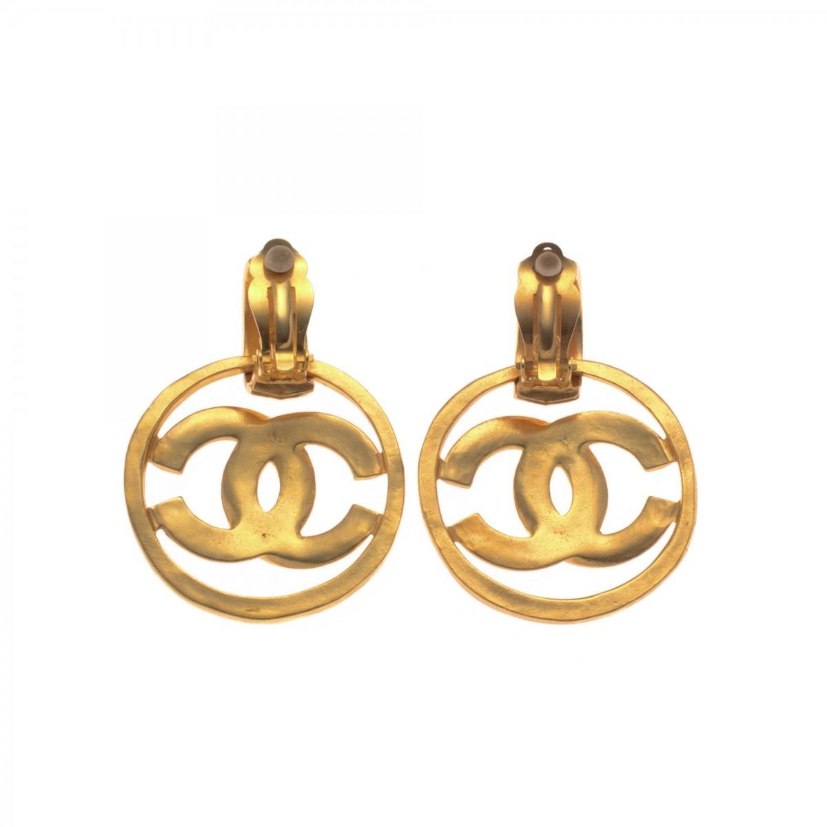 Cc Logo Drop Clip On Earrings
