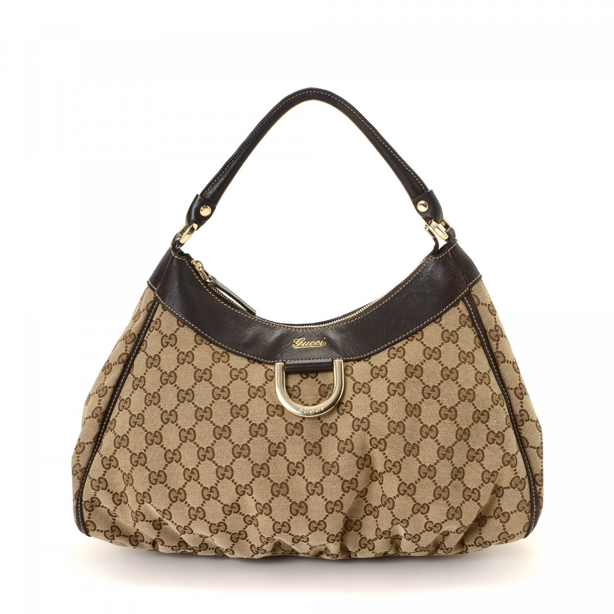Gucci GG Canvas D-Gold Hobo Bag GG Canvas - LXRandCo - Pre-Owned ...