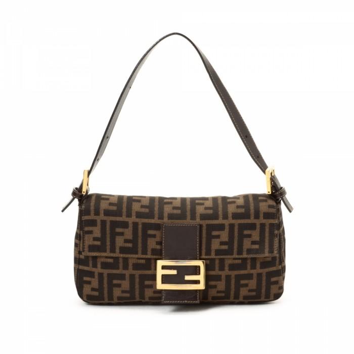 fendi baguette vintage. the authenticity of this vintage fendi baguette handbag is guaranteed by lxrandco. signature bag comes in brown canvas. fair condition (b)