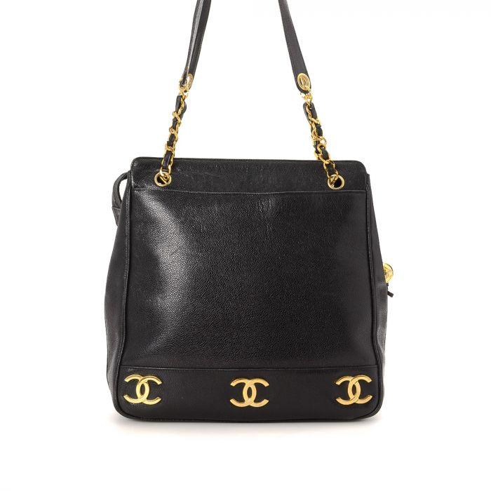 Chanel Signature Gold Triple CC Logo Shopping Bag Caviar Calf ...