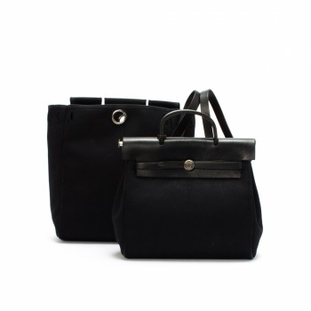 Herm¨¨s Herbag Sac A Dos Black Cotton Travel Bag - LXR\u0026amp;CO Vintage ...