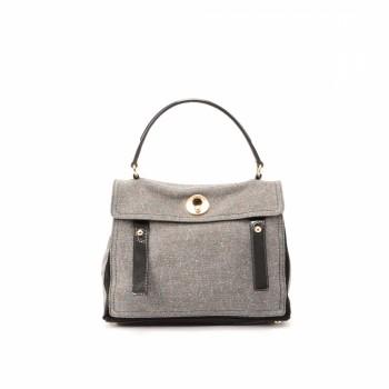 Yves Saint Laurent Muse Two Handbag Grey Cotton Handbag - LXR\u0026amp;CO ...
