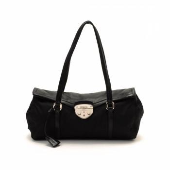 prada brown tote - Prada Shoulder Bag Black Nylon Shoulder Bag - LXR&CO Vintage Luxury