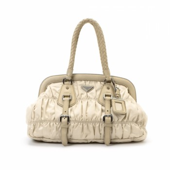 Prada Tessuto Gaufre Frame Bag Beige Nylon Handbag - LXR\u0026amp;CO ...