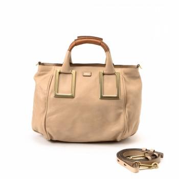 Chlo¨¦ Ethel Two Way Bag Beige Leather Handbag - LXR\u0026amp;CO Vintage Luxury