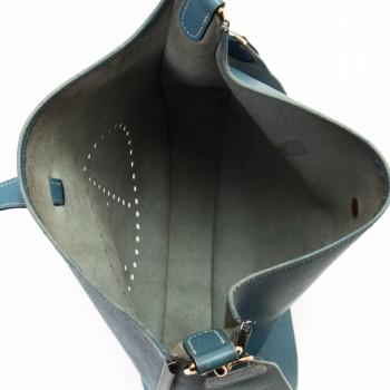 Herm¨¨s Hermes Evelyne Evelyne GM Blue Jean Calf Shoulder Bag ...