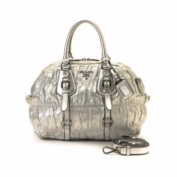 Prada Jacquard Logo Two Way Bag Black Nylon Tote - LXR\u0026amp;CO Vintage ...